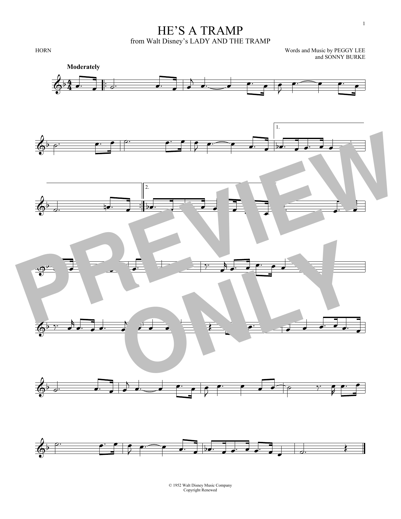 Partition autre He's A Tramp de Peggy Lee & Sonny Burke - Cor