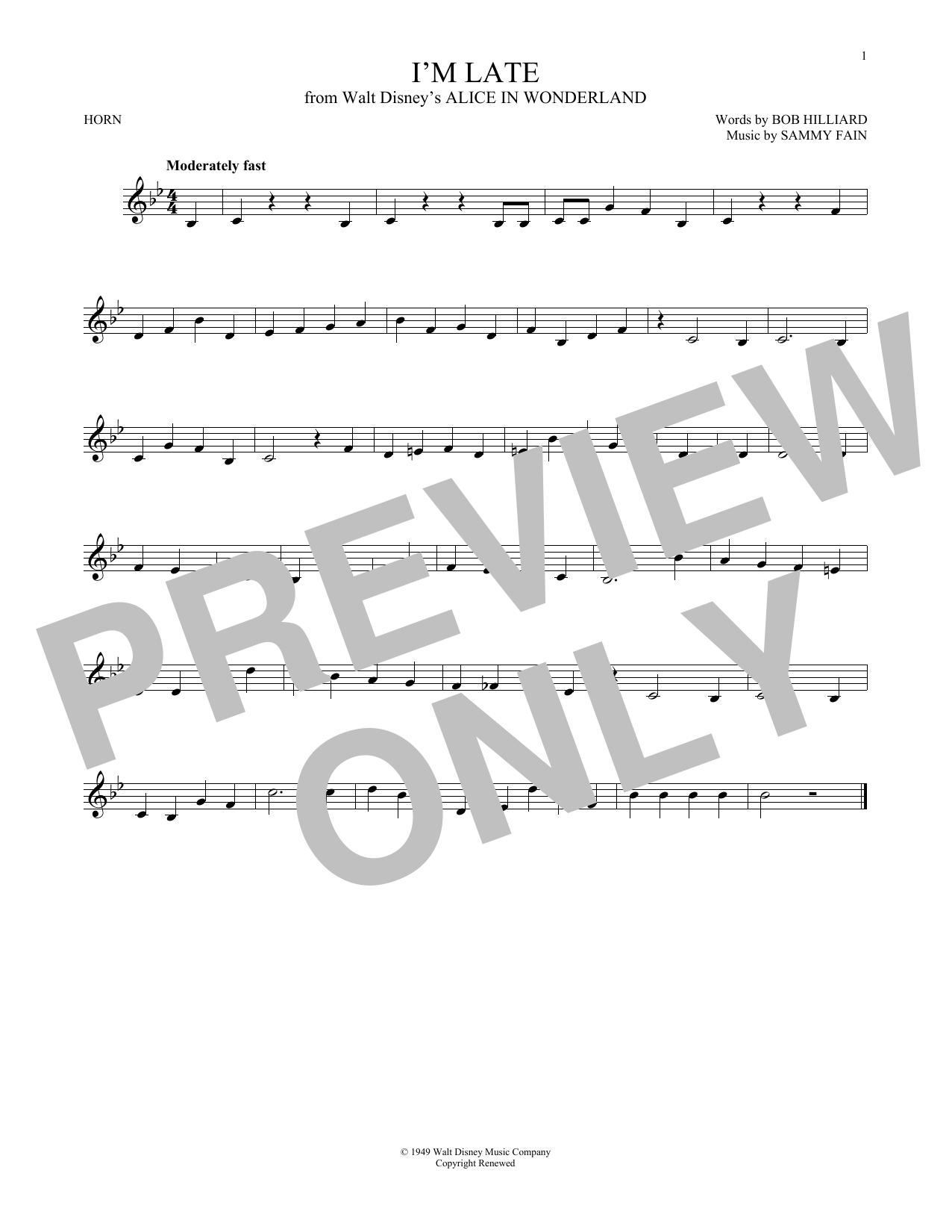 Partition autre I'm Late de Sammy Fain - Cor