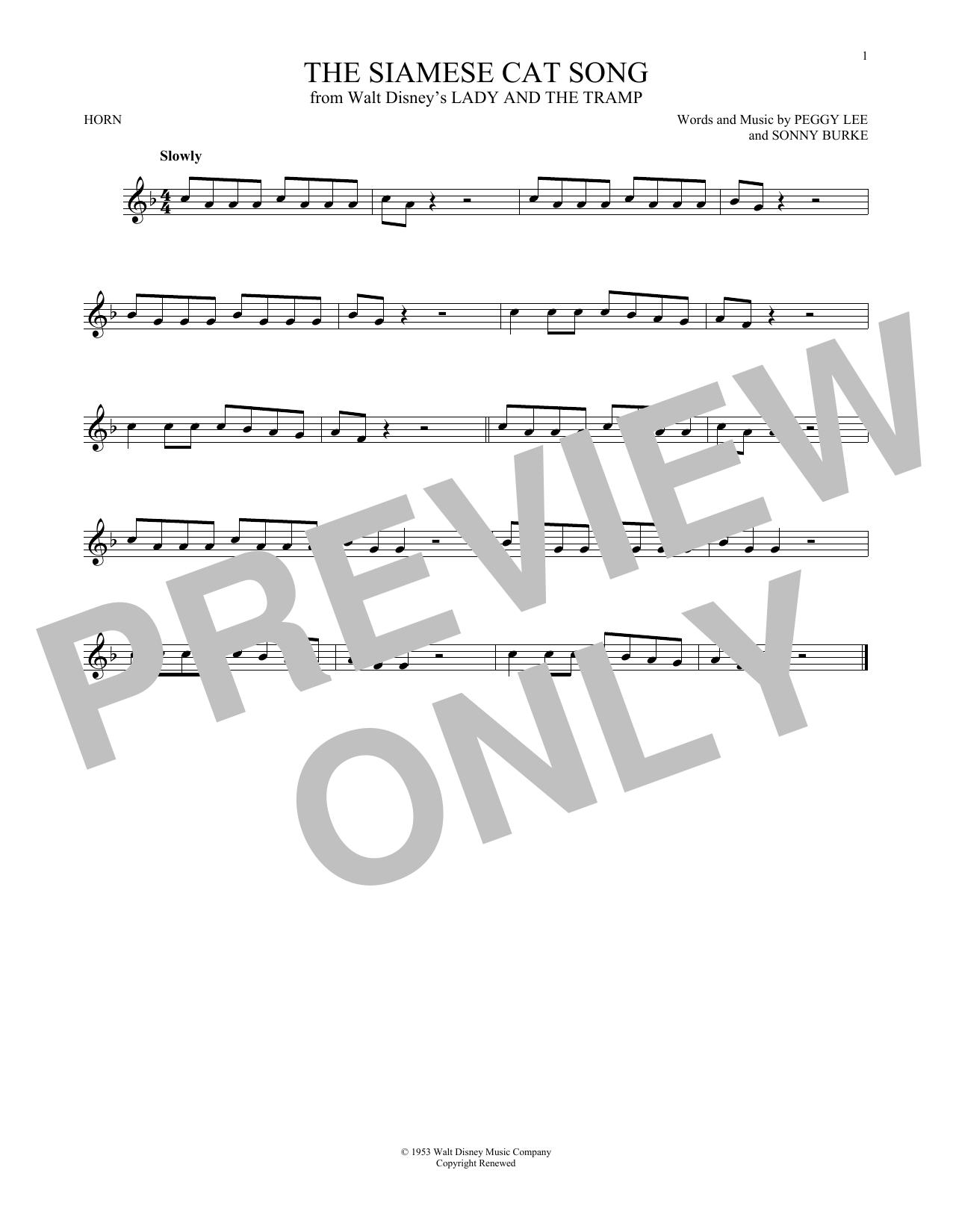 Partition autre The Siamese Cat Song de Peggy Lee - Cor
