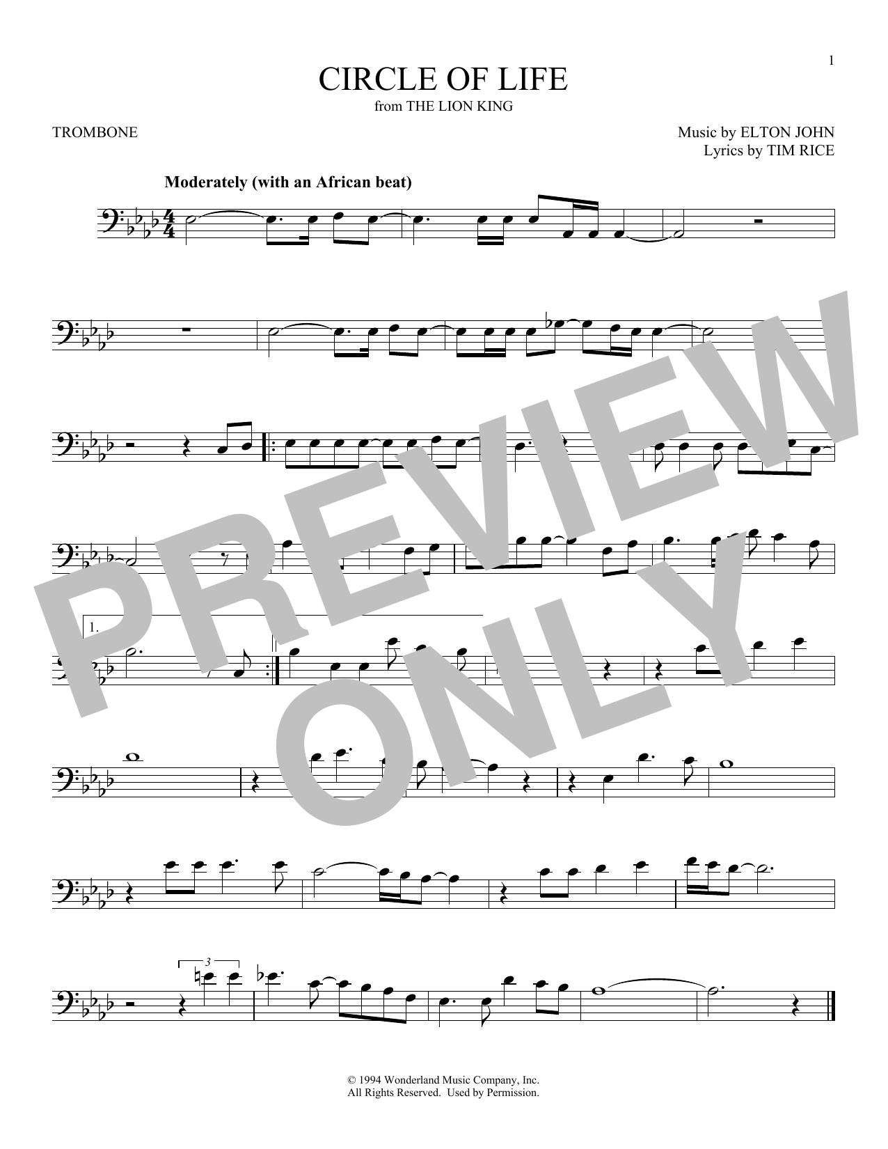 Partition autre Circle Of Life de Elton John - Trombone