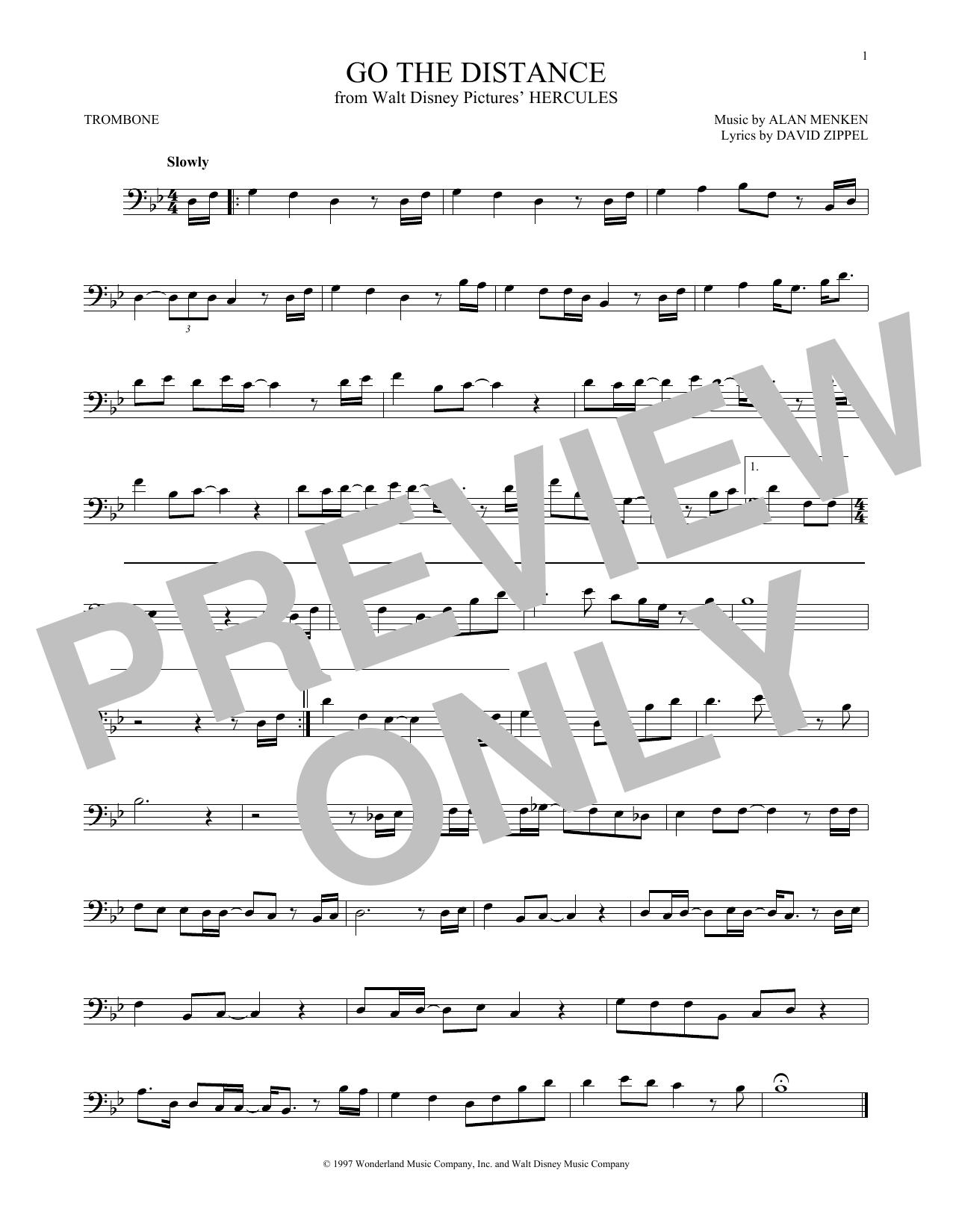 Partition autre Go The Distance de Michael Bolton - Trombone