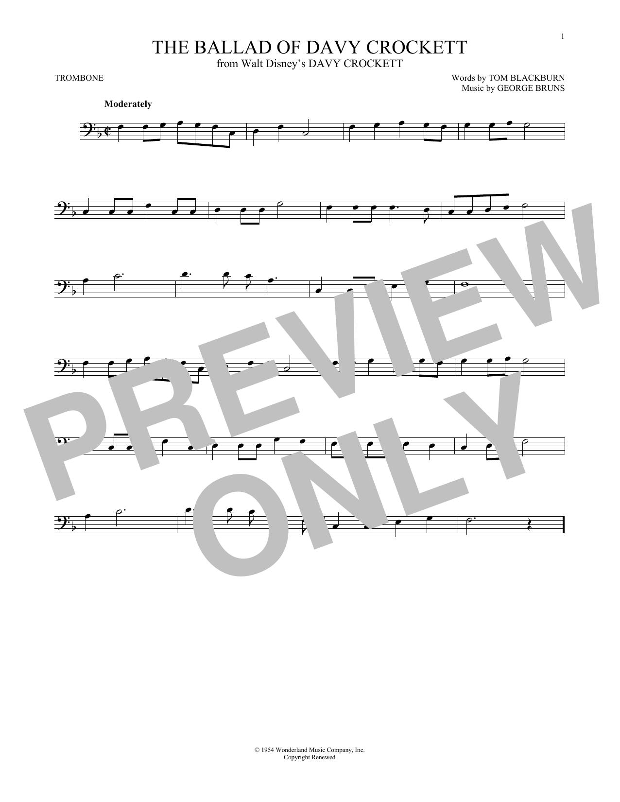 Partition autre The Ballad Of Davy Crockett de George Bruns - Trombone
