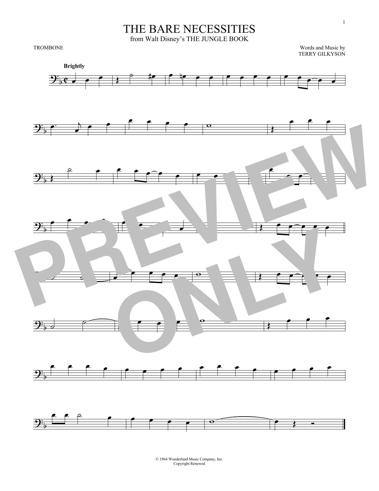 Partition autre The Bare Necessities de Terry Gilkyson - Trombone