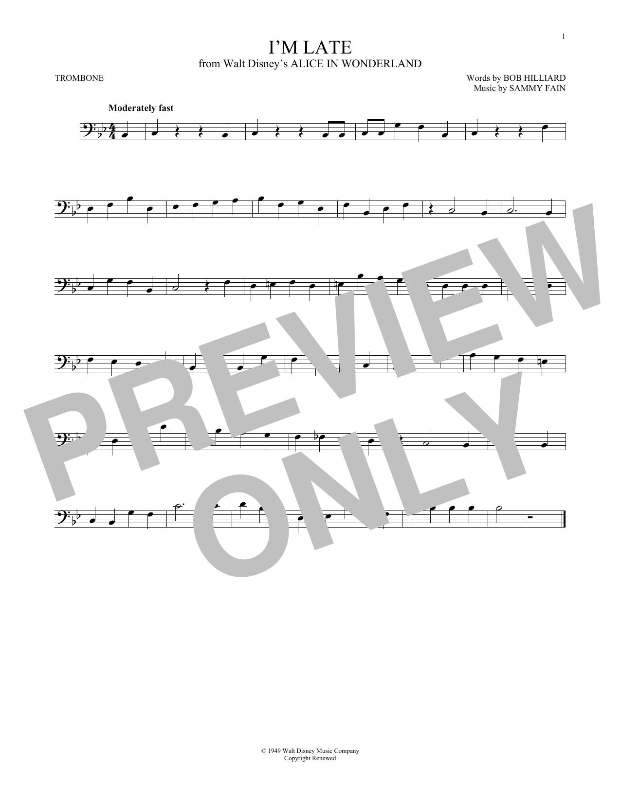 Partition autre I'm Late de Sammy Fain - Trombone