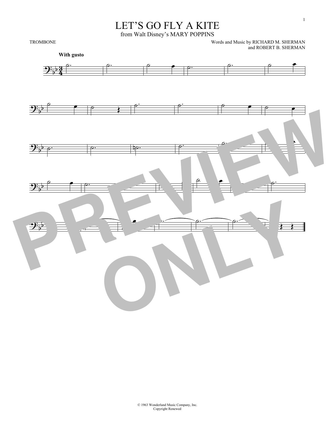 Partition autre Let's Go Fly A Kite de Richard & Robert Sherman - Trombone