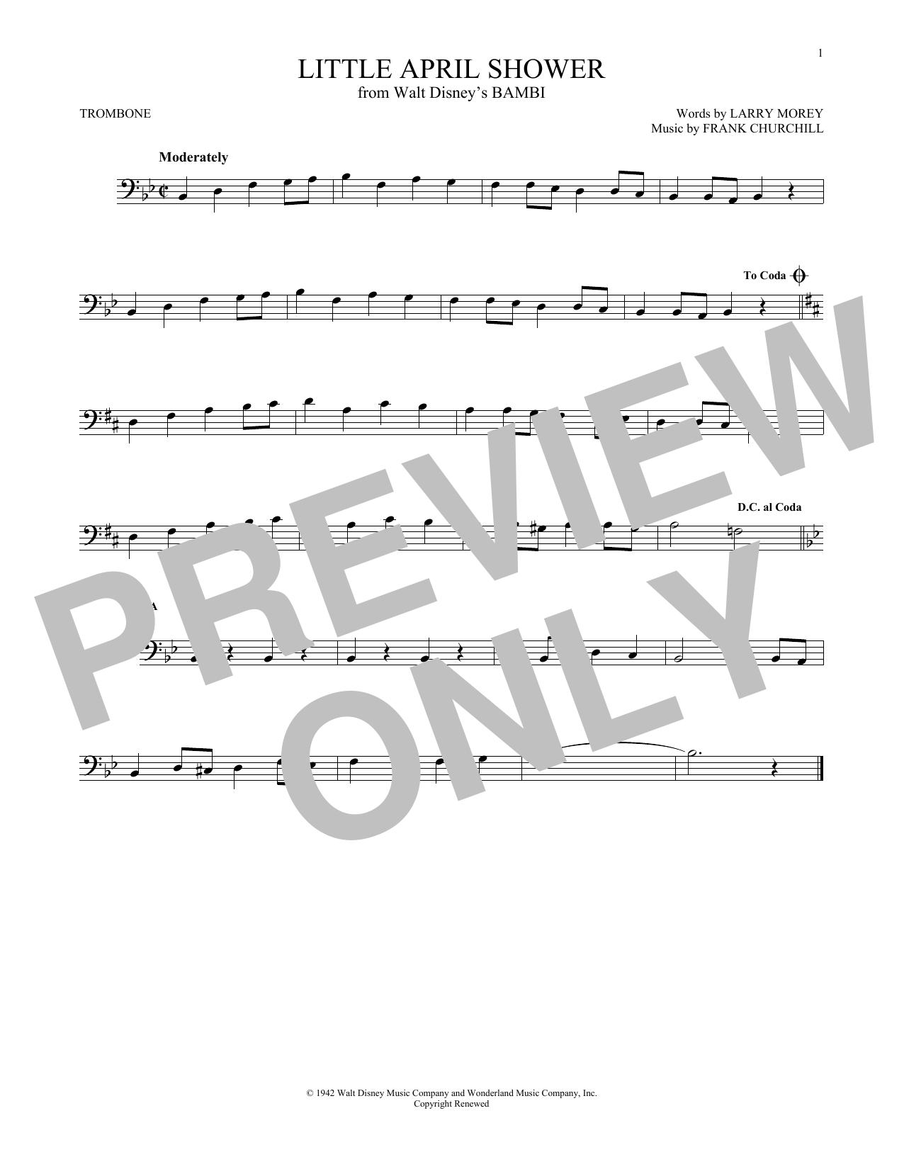 Partition autre Little April Shower de Frank Churchill - Trombone