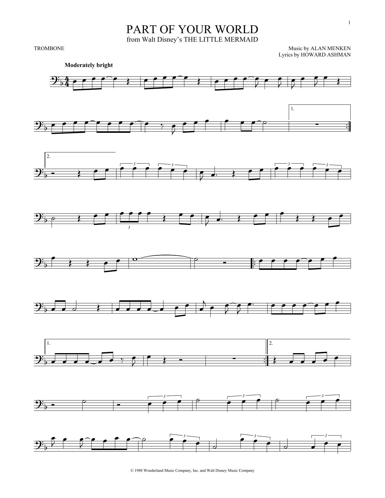 Partition autre Part Of Your World de Alan Menken - Trombone