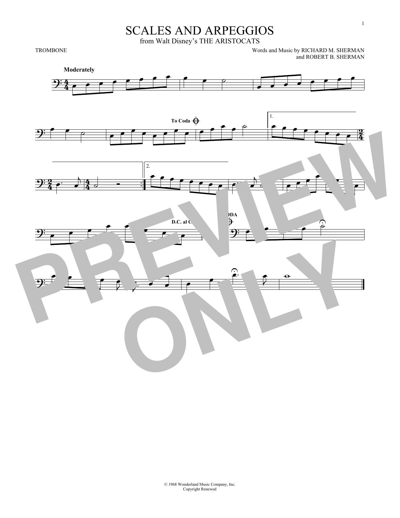 Partition autre Scales And Arpeggios de Richard & Robert Sherman - Trombone