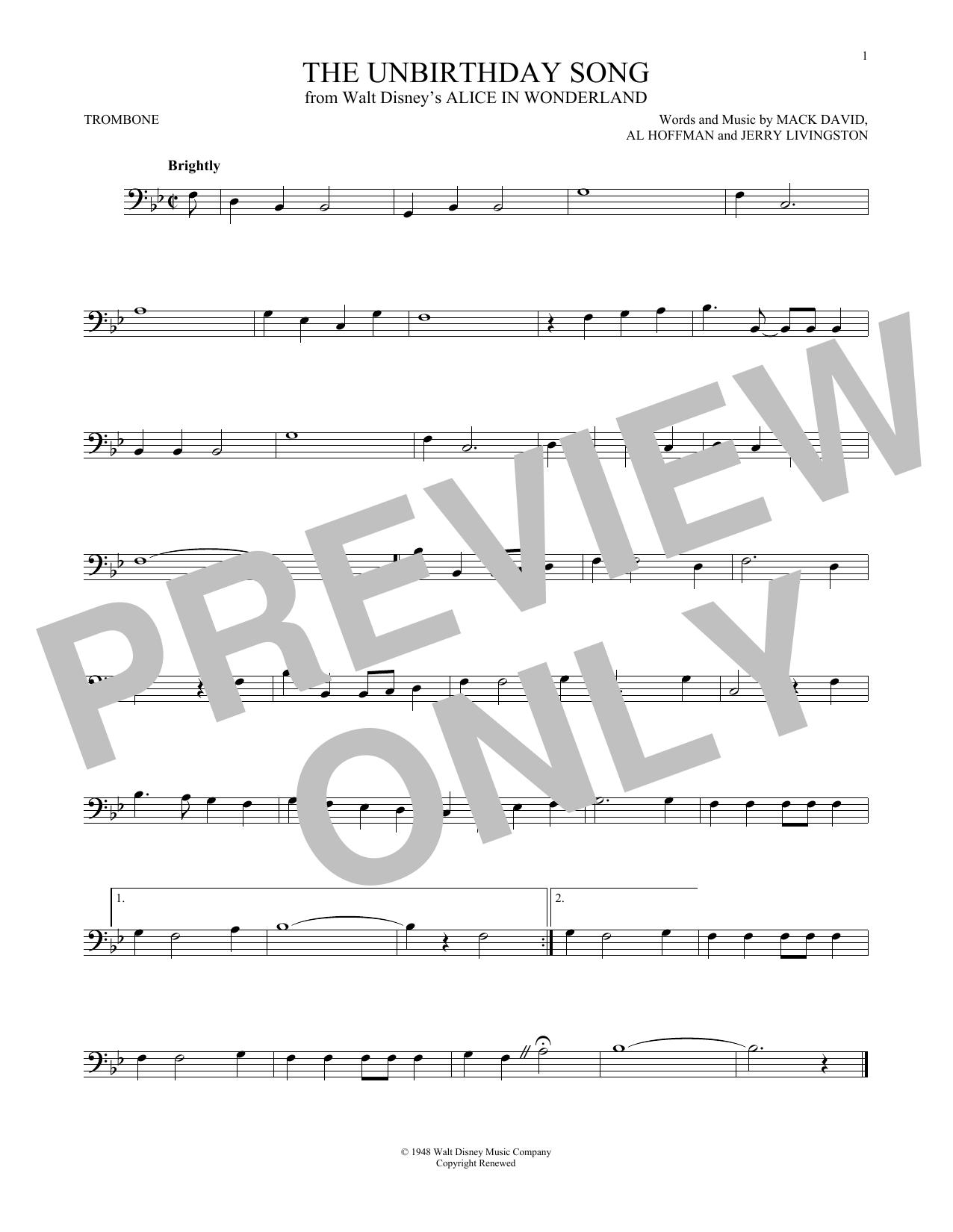 Partition autre The Unbirthday Song de Jerry Livingston - Trombone