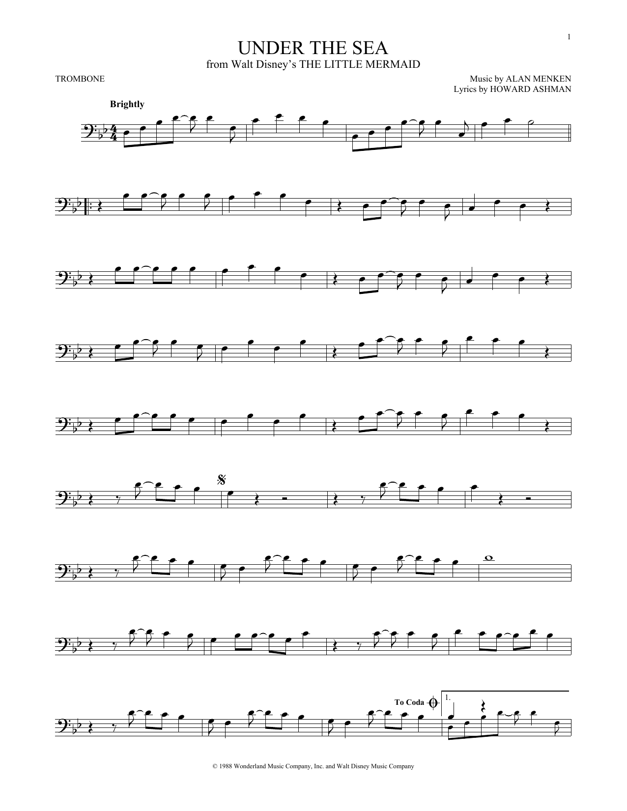 Partition autre Under The Sea de Alan Menken - Trombone