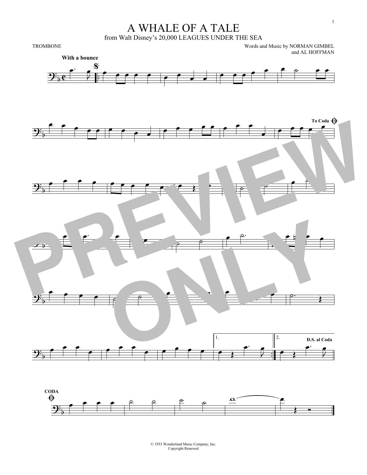 Partition autre A Whale Of A Tale de Norman Gimbel - Trombone