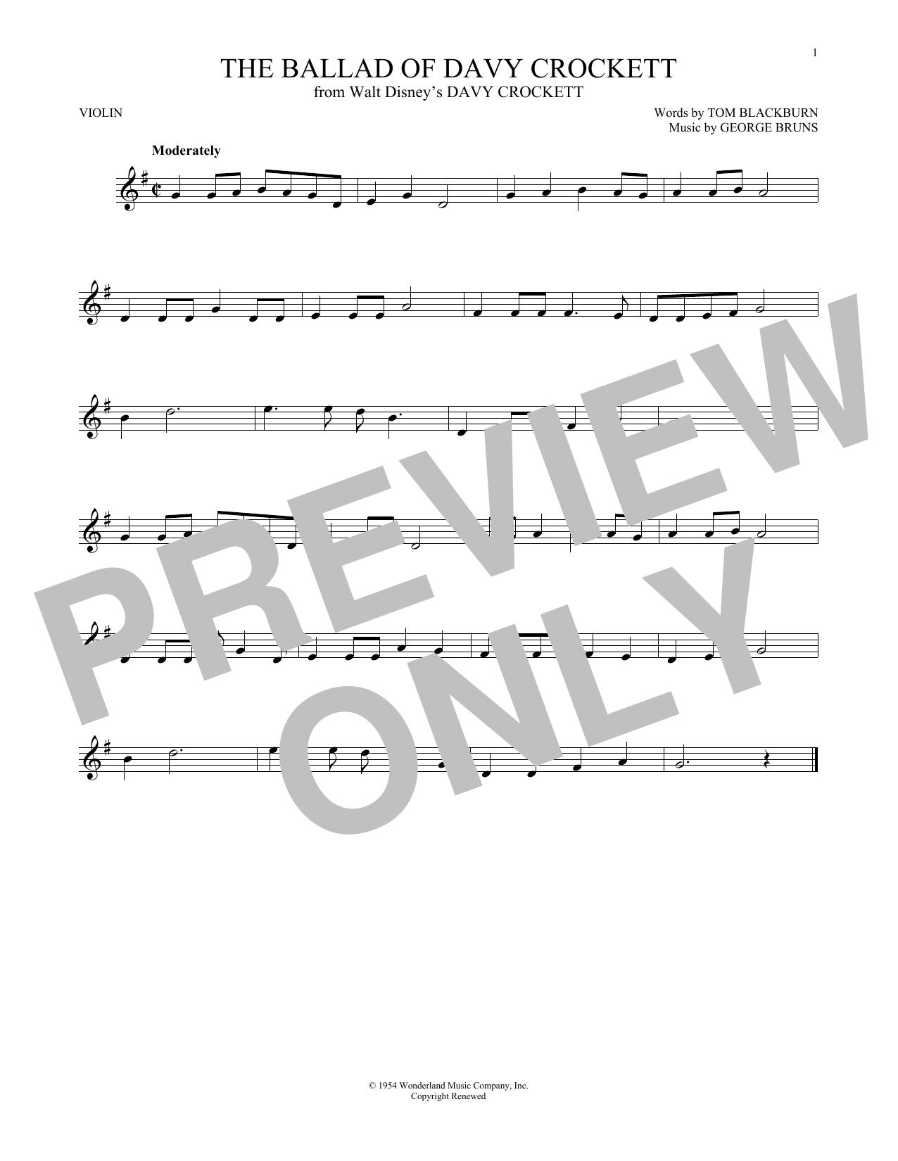 Partition autre The Ballad Of Davy Crockett de George Bruns - Violon