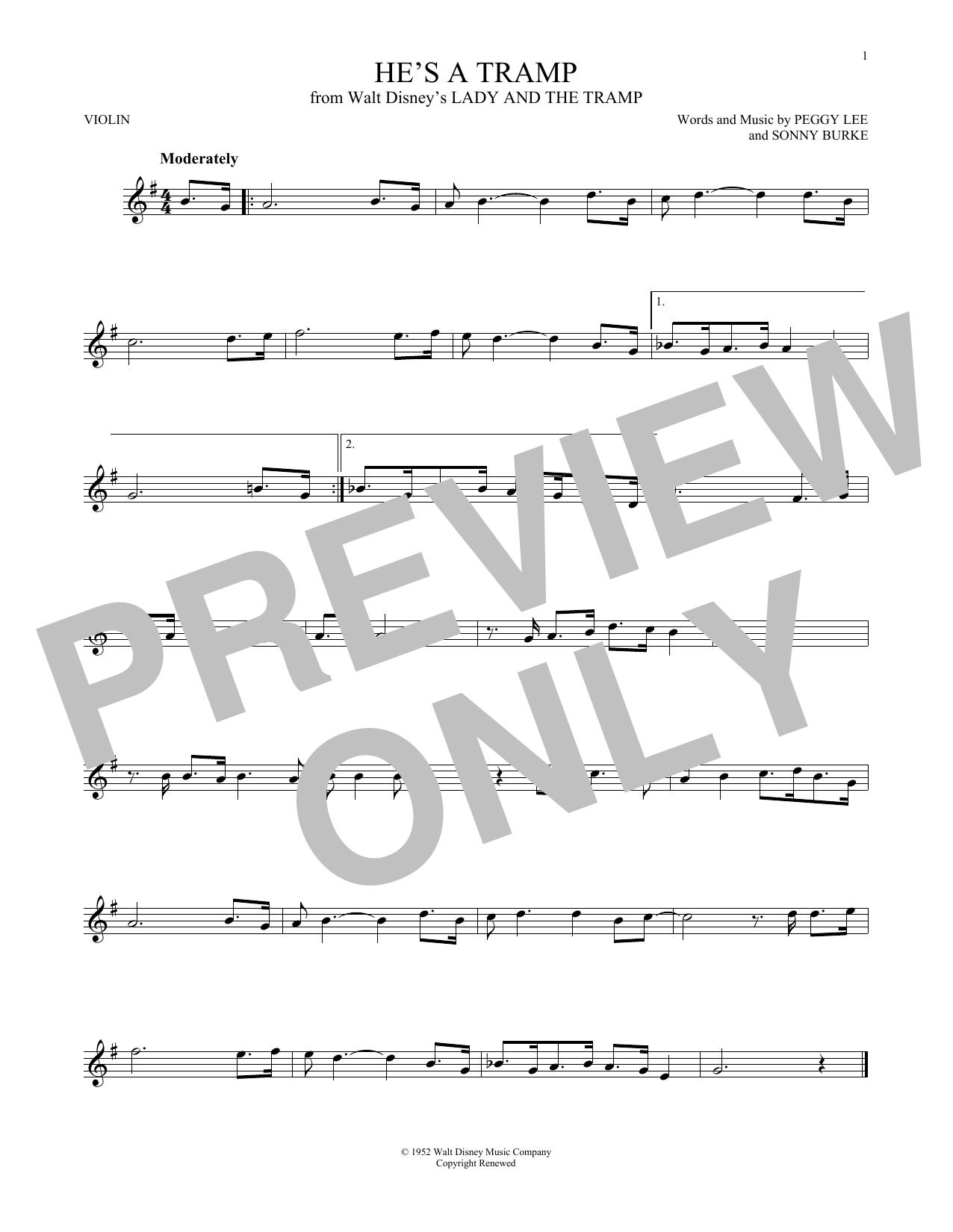 Partition autre He's A Tramp de Peggy Lee & Sonny Burke - Violon