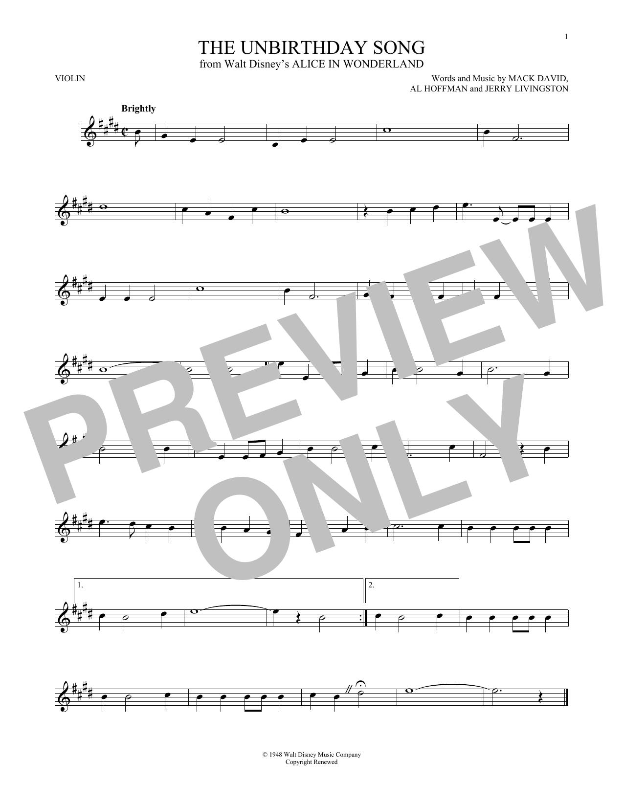 Partition autre The Unbirthday Song de Jerry Livingston - Violon