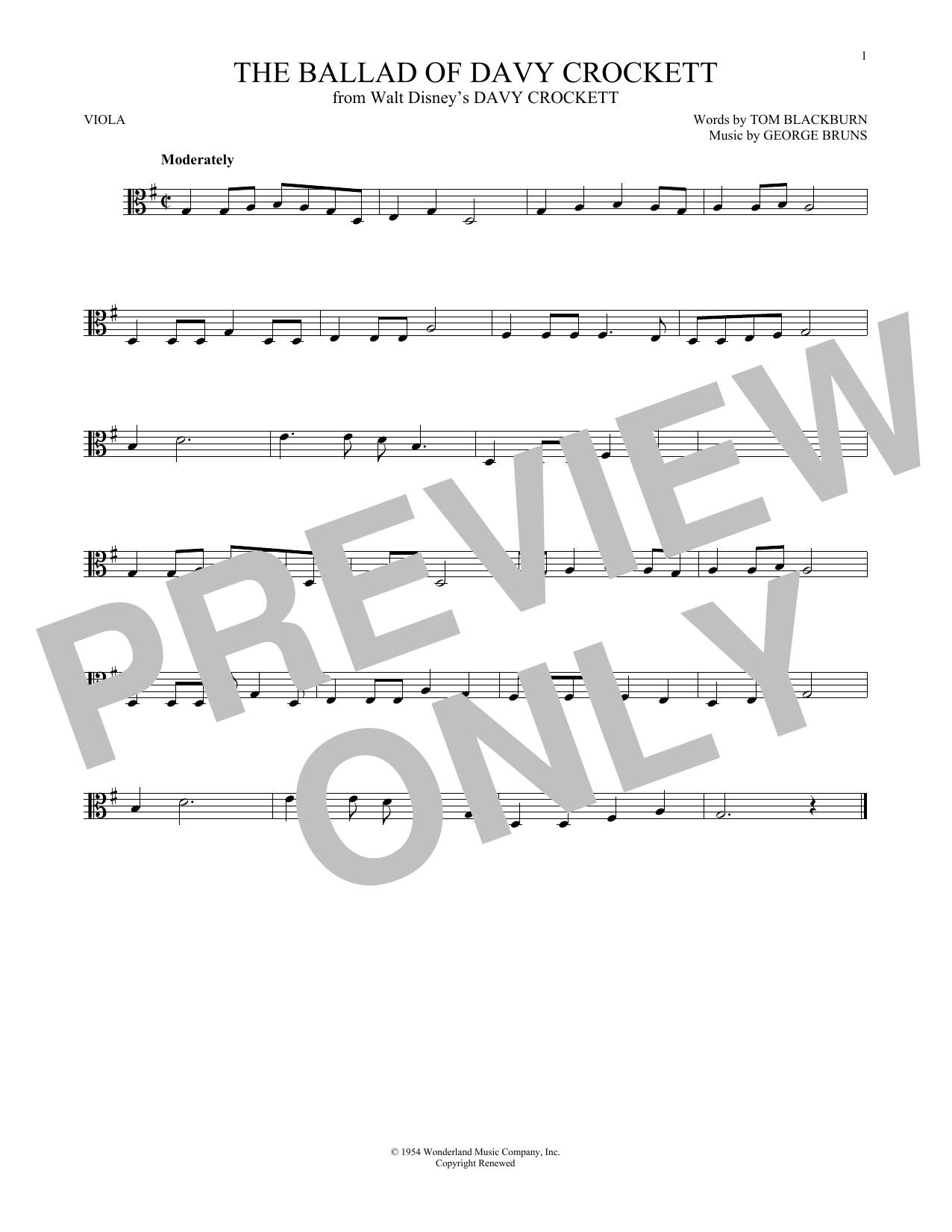 Partition autre The Ballad Of Davy Crockett de George Bruns - Alto