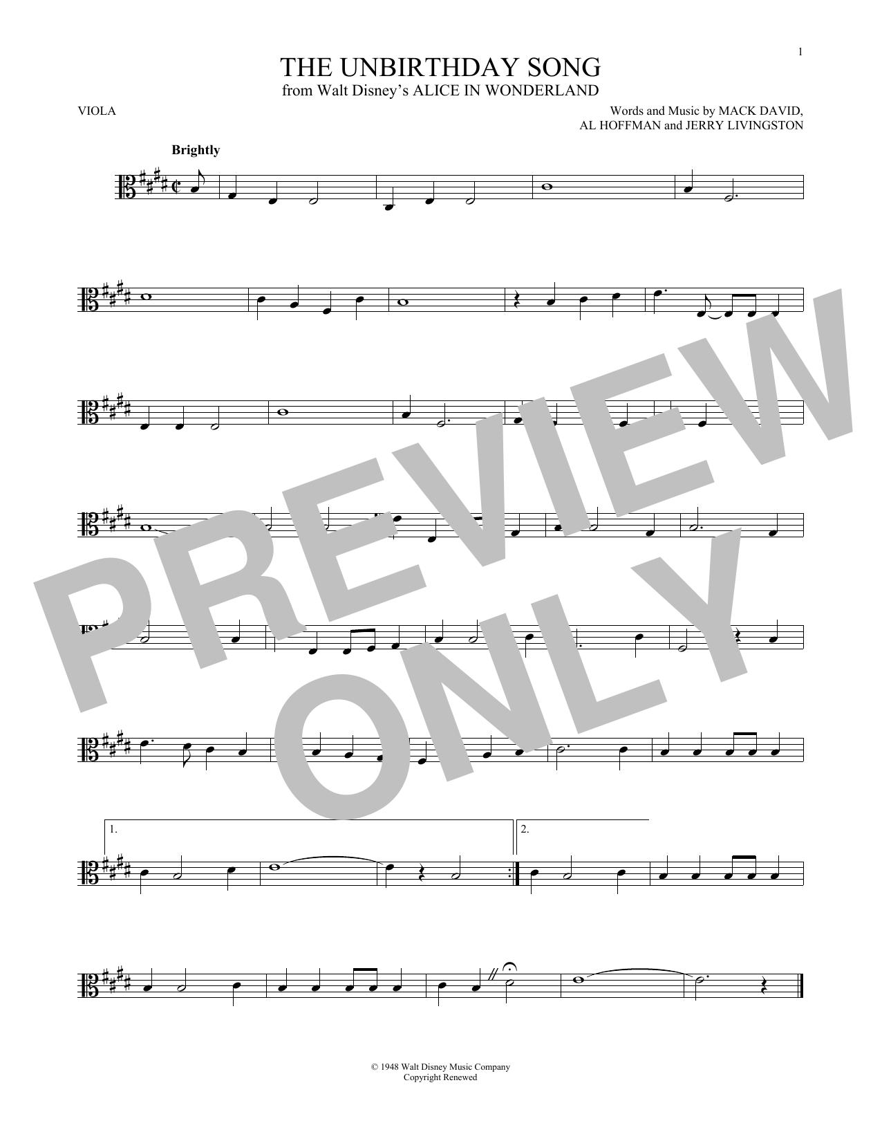 Partition autre The Unbirthday Song de Jerry Livingston - Alto