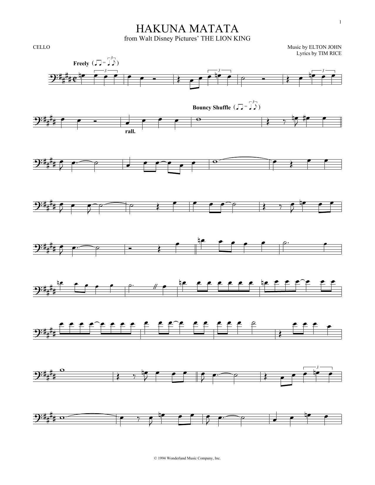 Partition autre Hakuna Matata de Elton John - Violoncelle