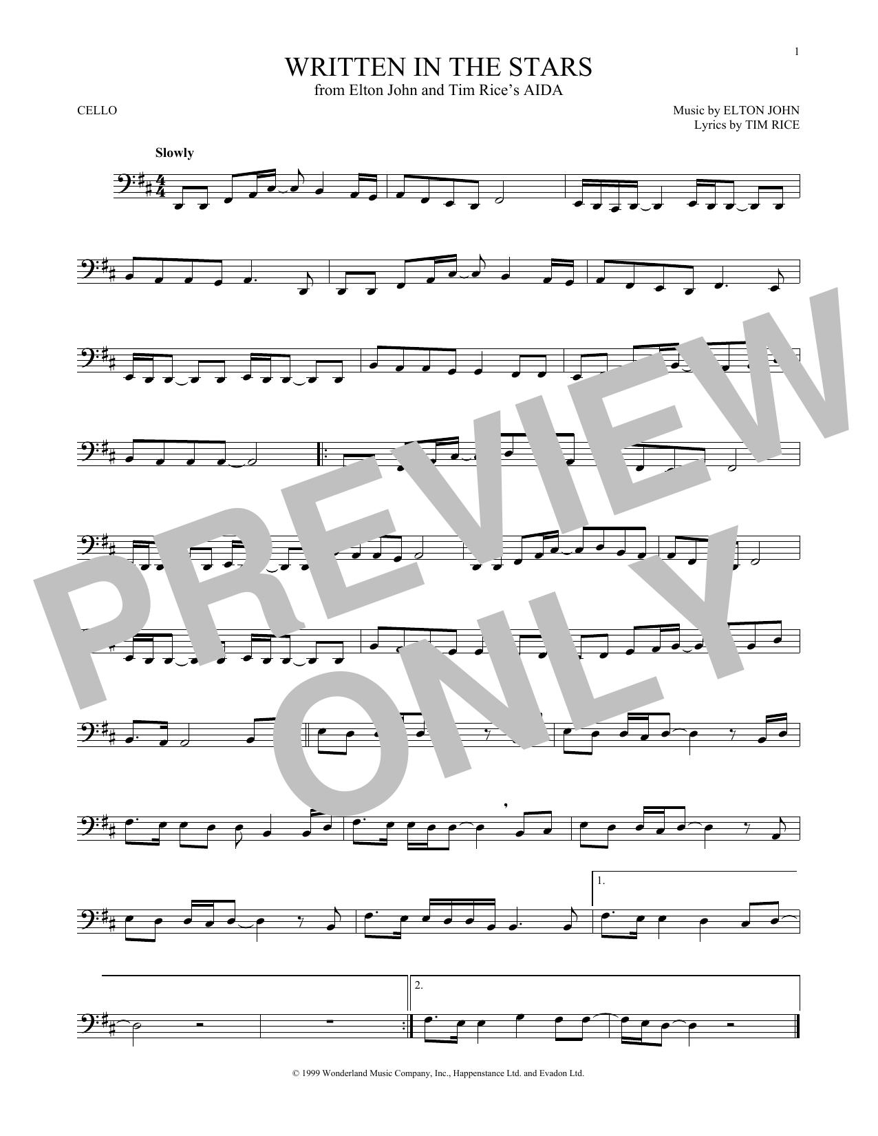 Partition autre Written In The Stars de Elton John & LeAnn Rimes - Violoncelle