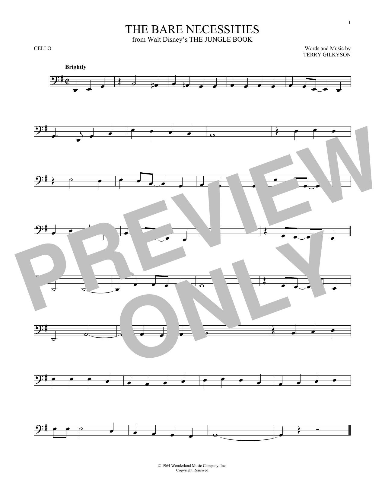 Partition autre The Bare Necessities de Terry Gilkyson - Violoncelle