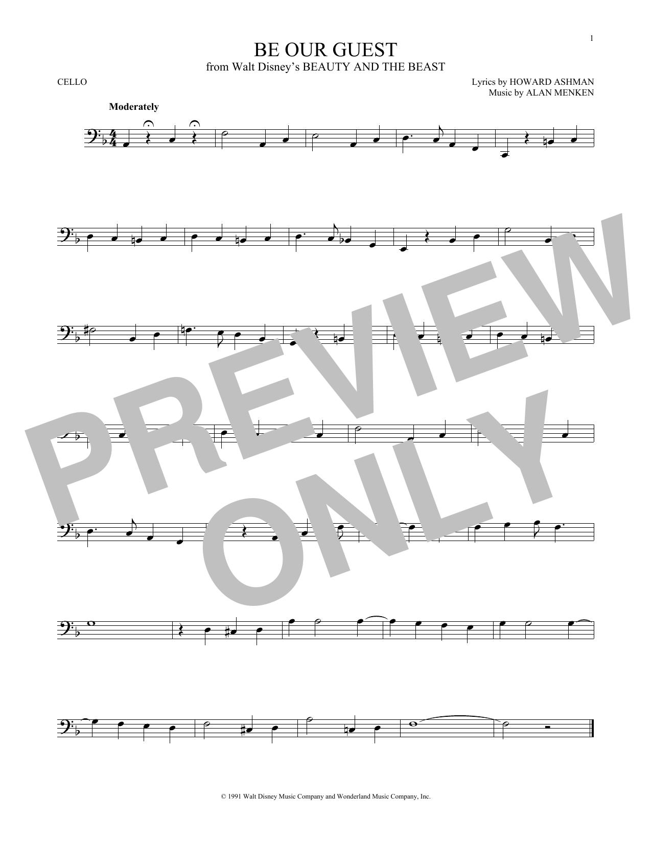 Partition autre Be Our Guest de Alan Menken - Violoncelle