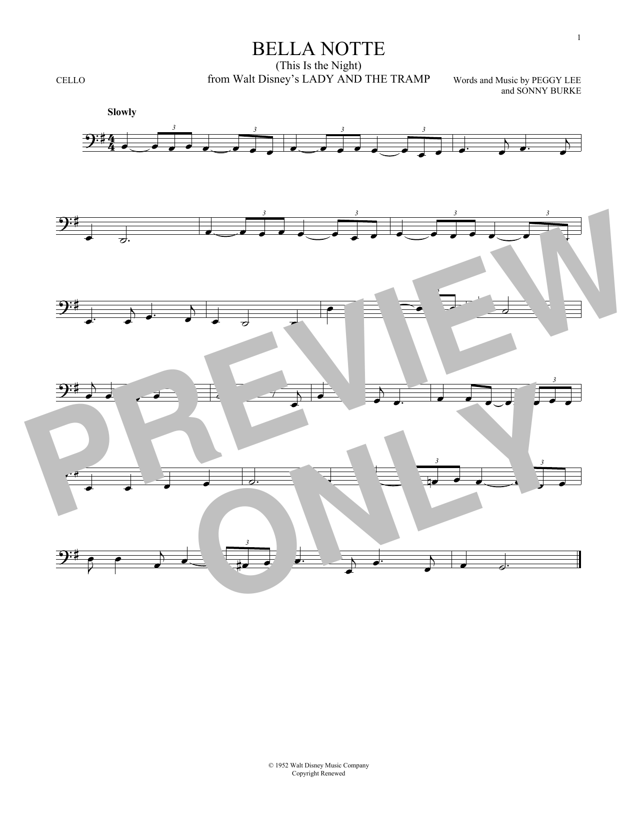 Partition autre Bella Notte de Peggy Lee & Sonny Burke - Violoncelle