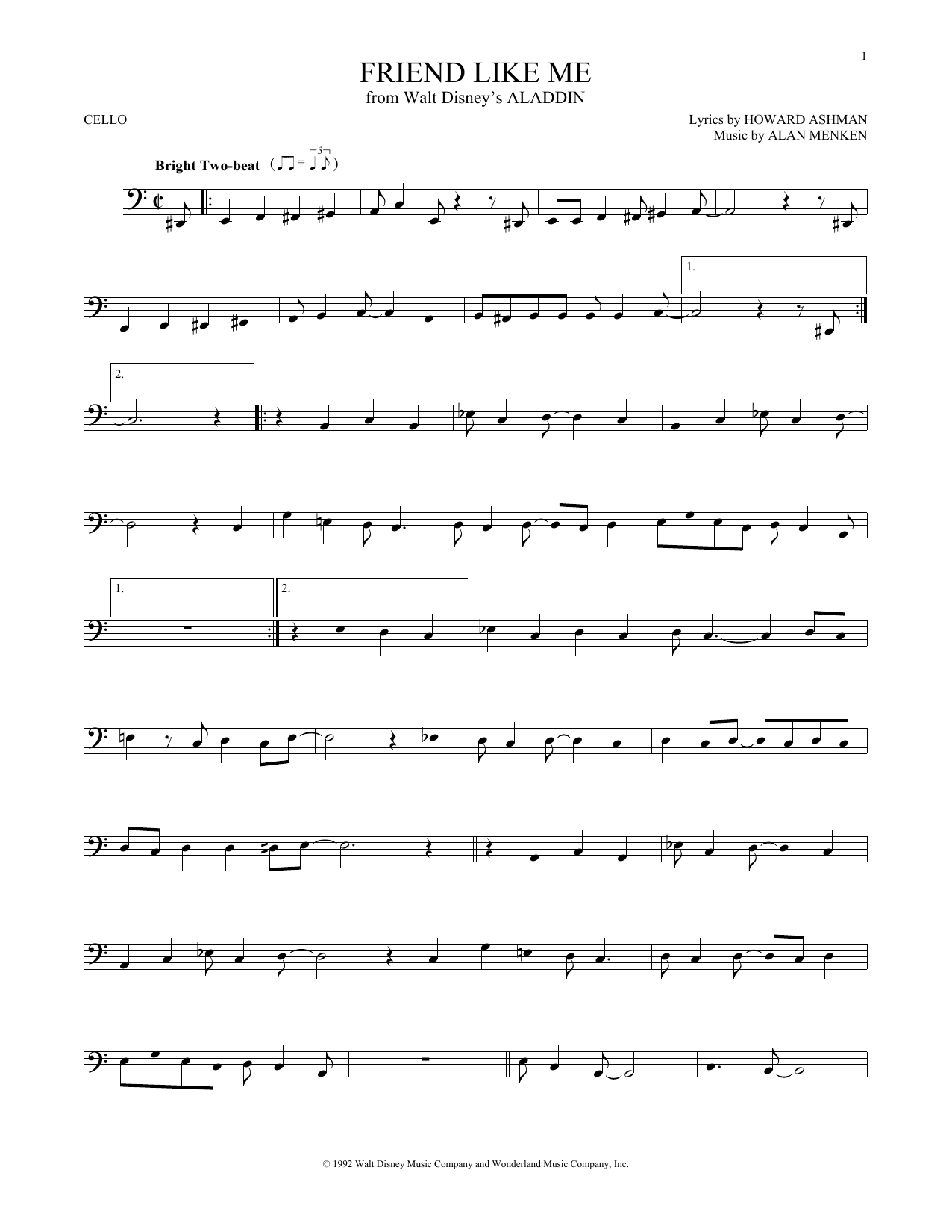Partition autre Friend Like Me de Alan Menken - Violoncelle