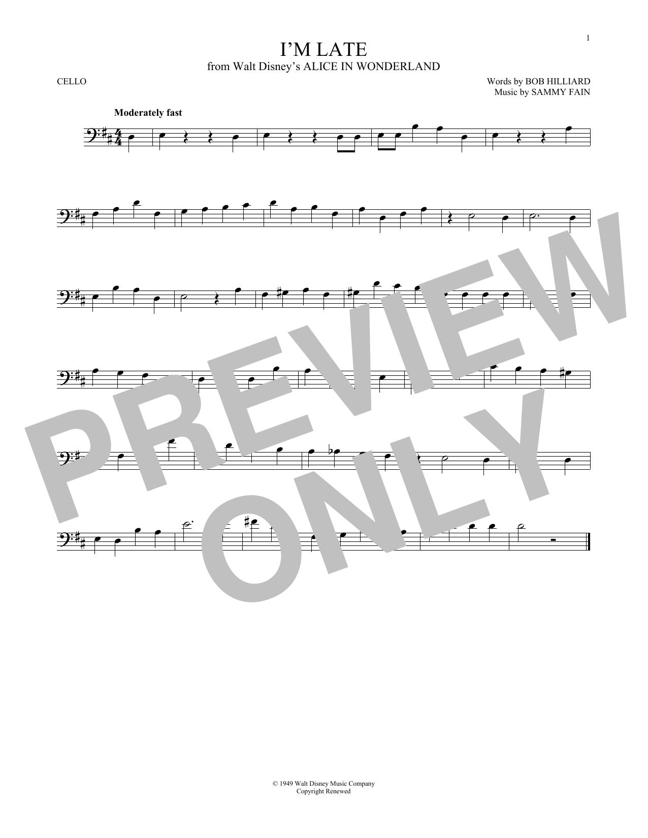 Partition autre I'm Late de Sammy Fain - Violoncelle