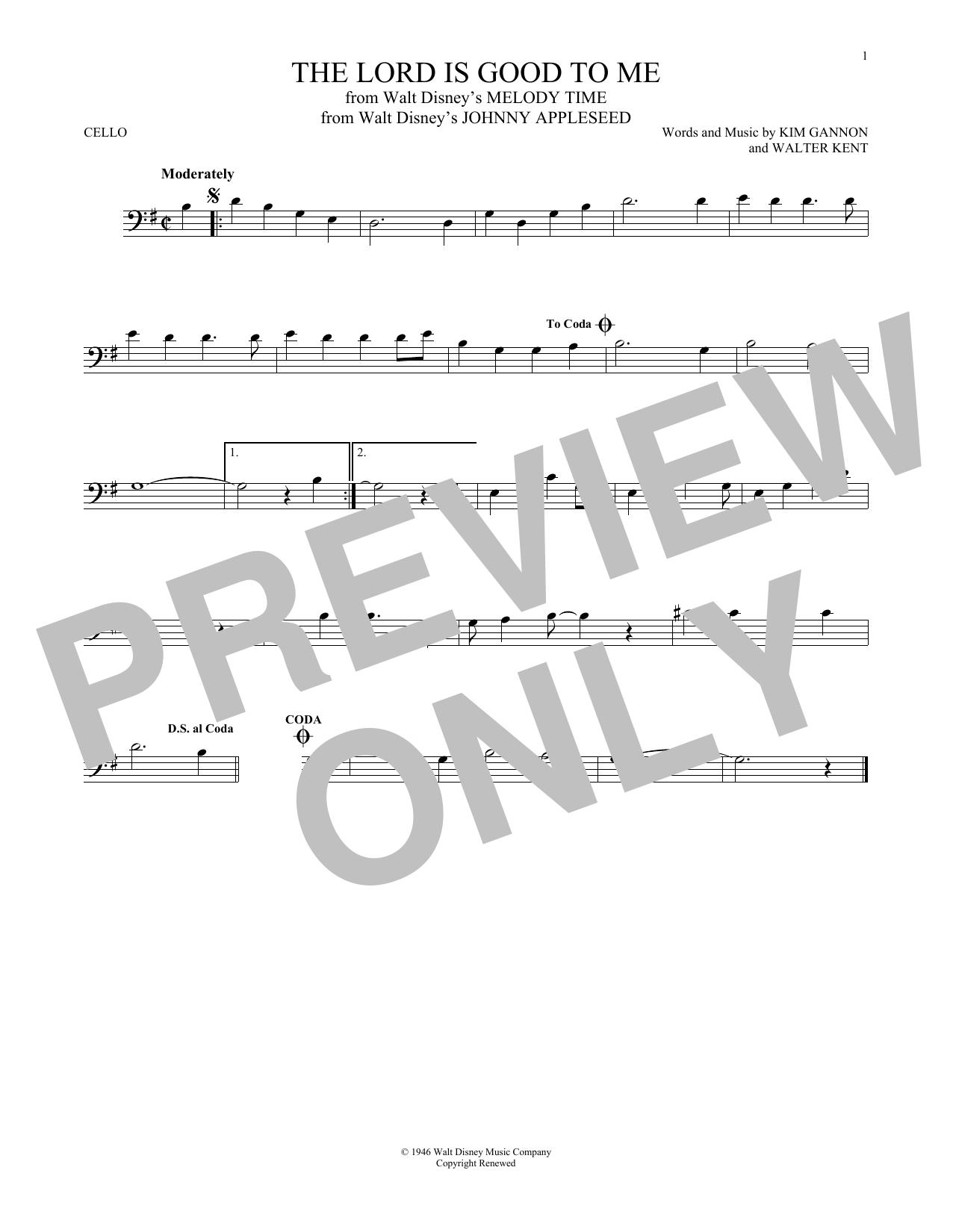 Partition autre The Lord Is Good To Me de Kim Gannon - Violoncelle