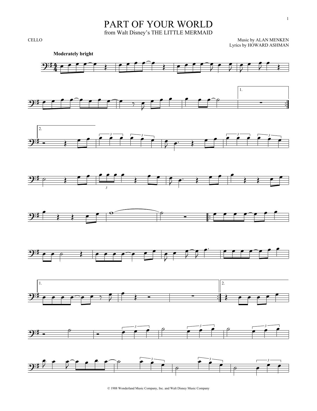 Partition autre Part Of Your World de Alan Menken - Violoncelle