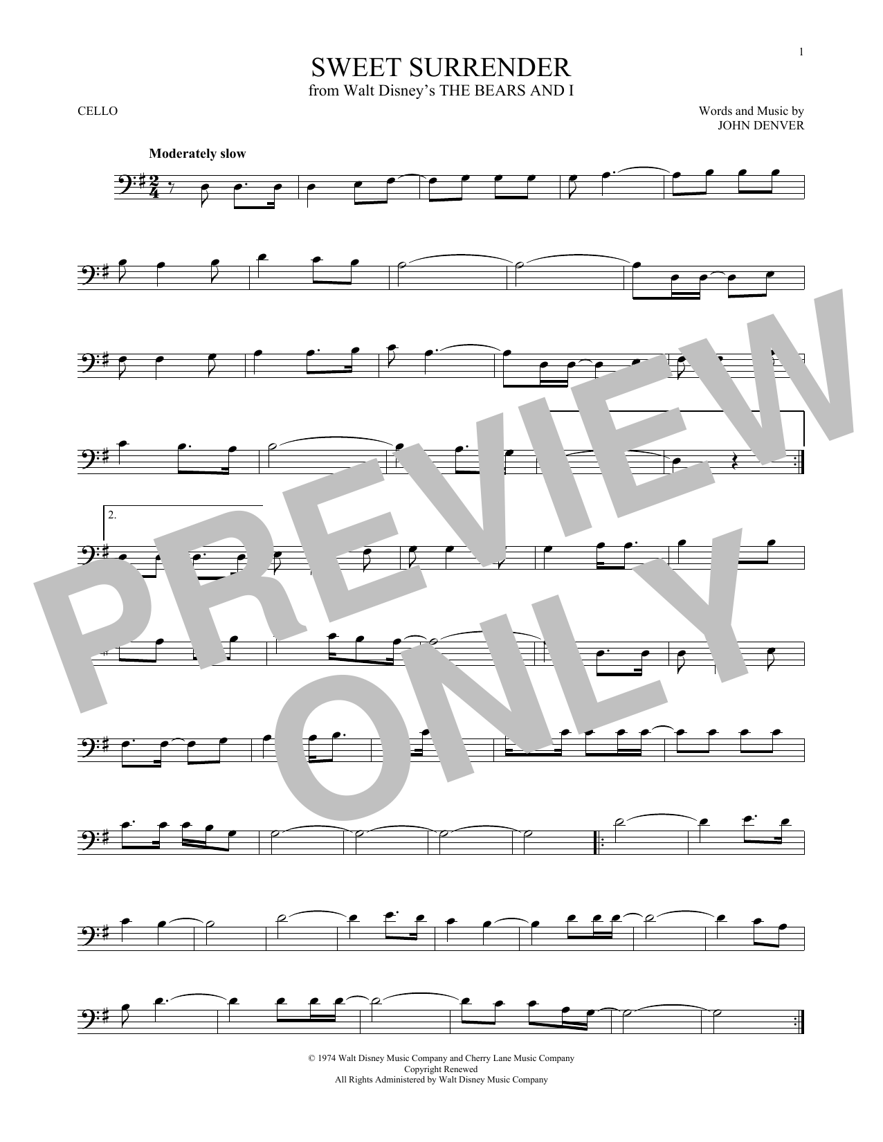 Partition autre Sweet Surrender de John Denver - Violoncelle