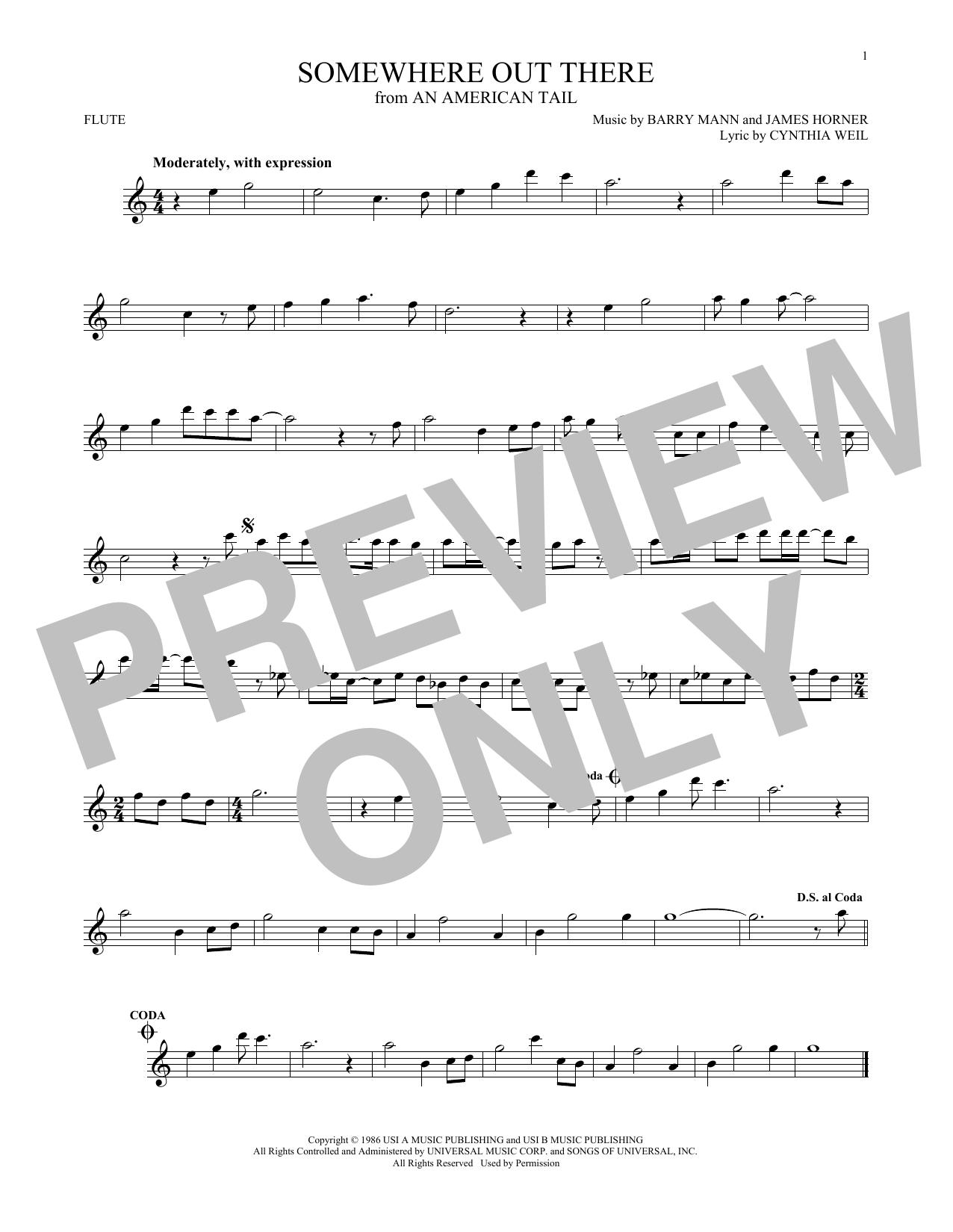 Partition flûte Somewhere Out There de Linda Ronstadt & James Ingram - Flute traversiere