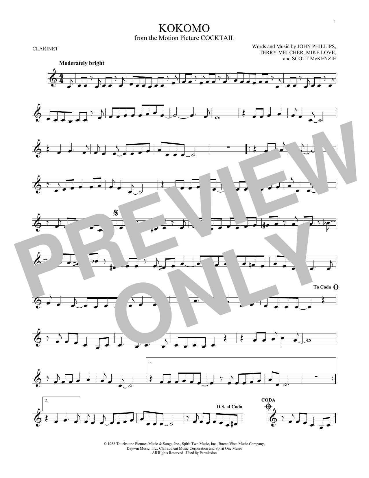 Partition clarinette Kokomo de The Beach Boys - Clarinette