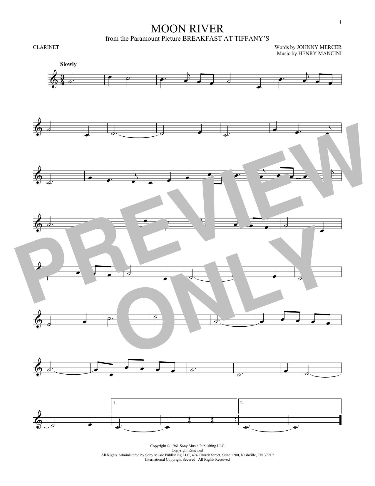 Partition clarinette Moon River de Henry Mancini - Clarinette