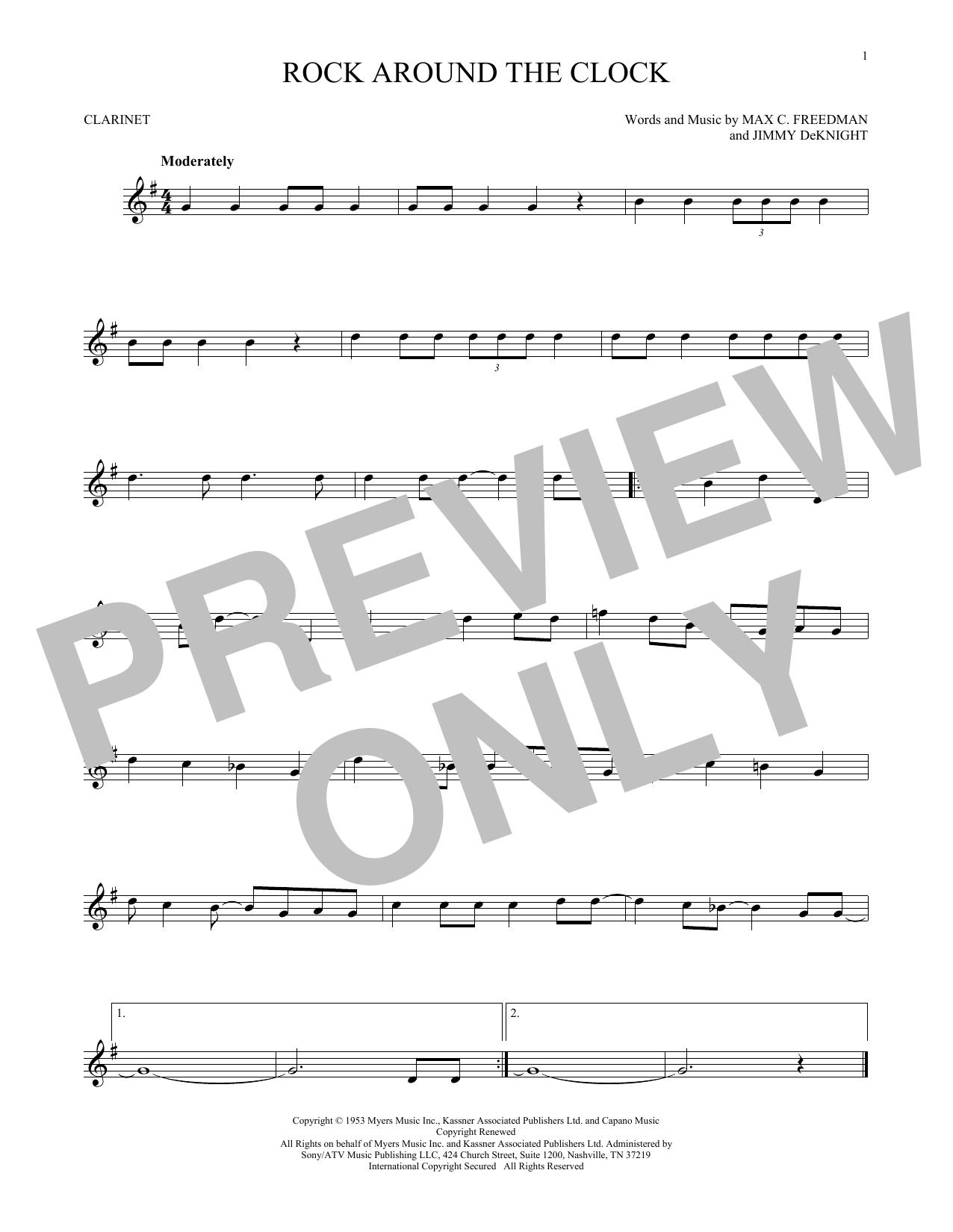 Partition clarinette Rock Around The Clock de Bill Haley & His Comets - Clarinette