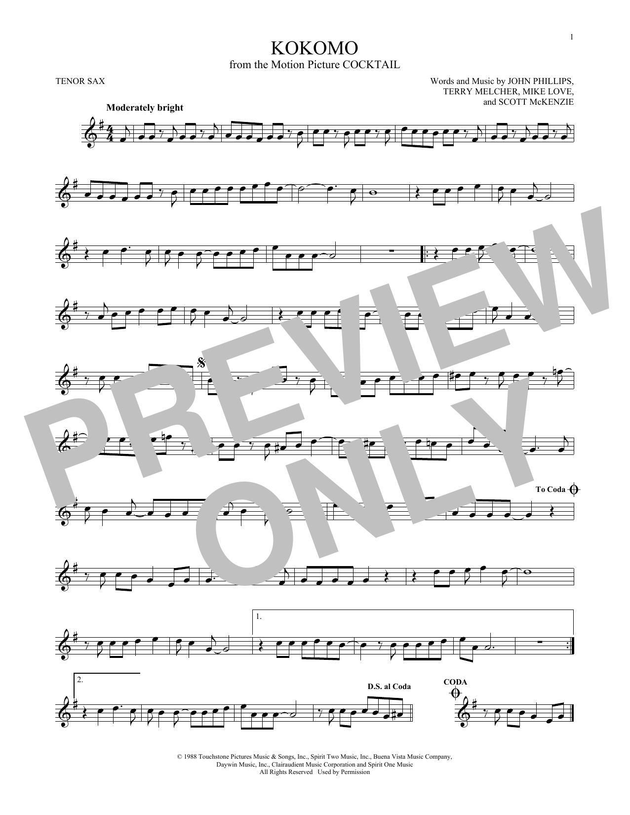 Partition saxophone Kokomo de The Beach Boys - Sax Tenor