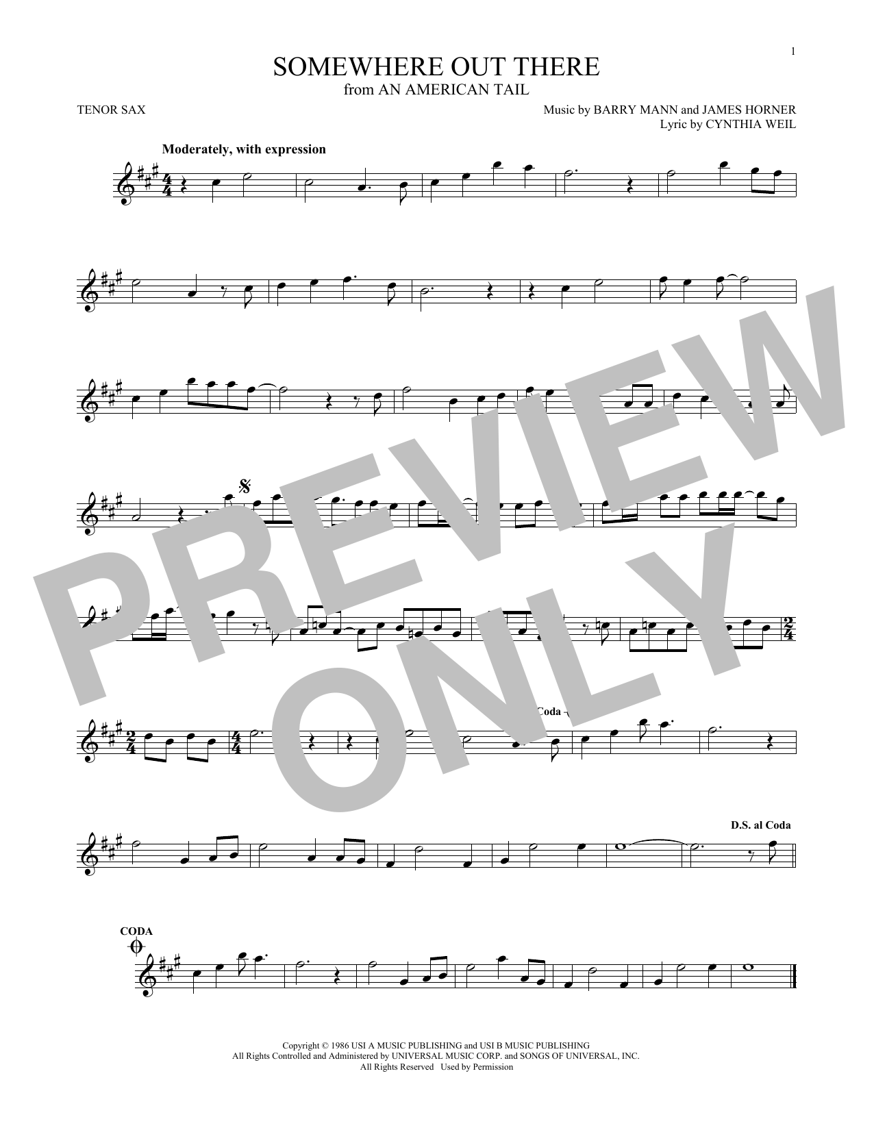 Partition saxophone Somewhere Out There de Linda Ronstadt & James Ingram - Sax Tenor