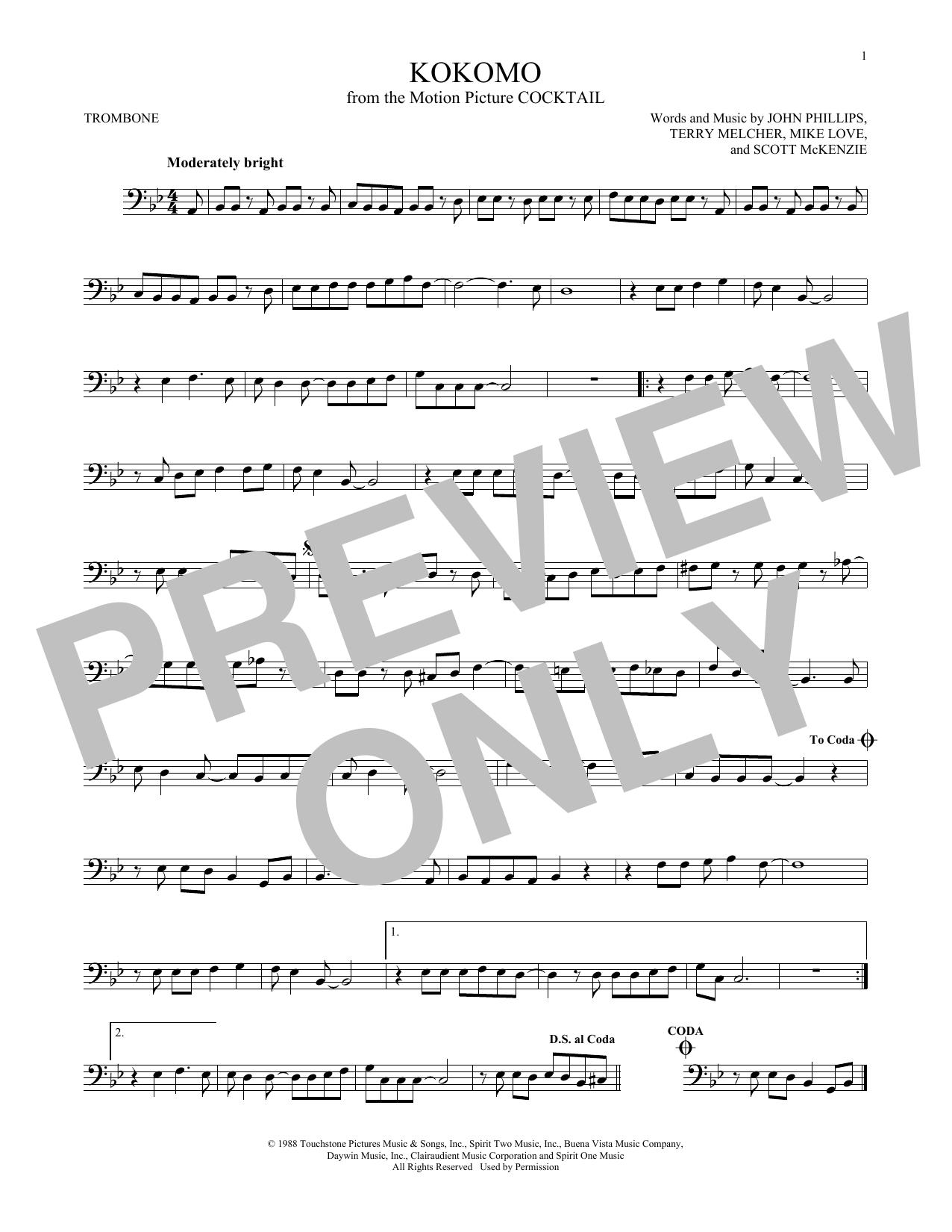 Partition autre Kokomo de The Beach Boys - Trombone