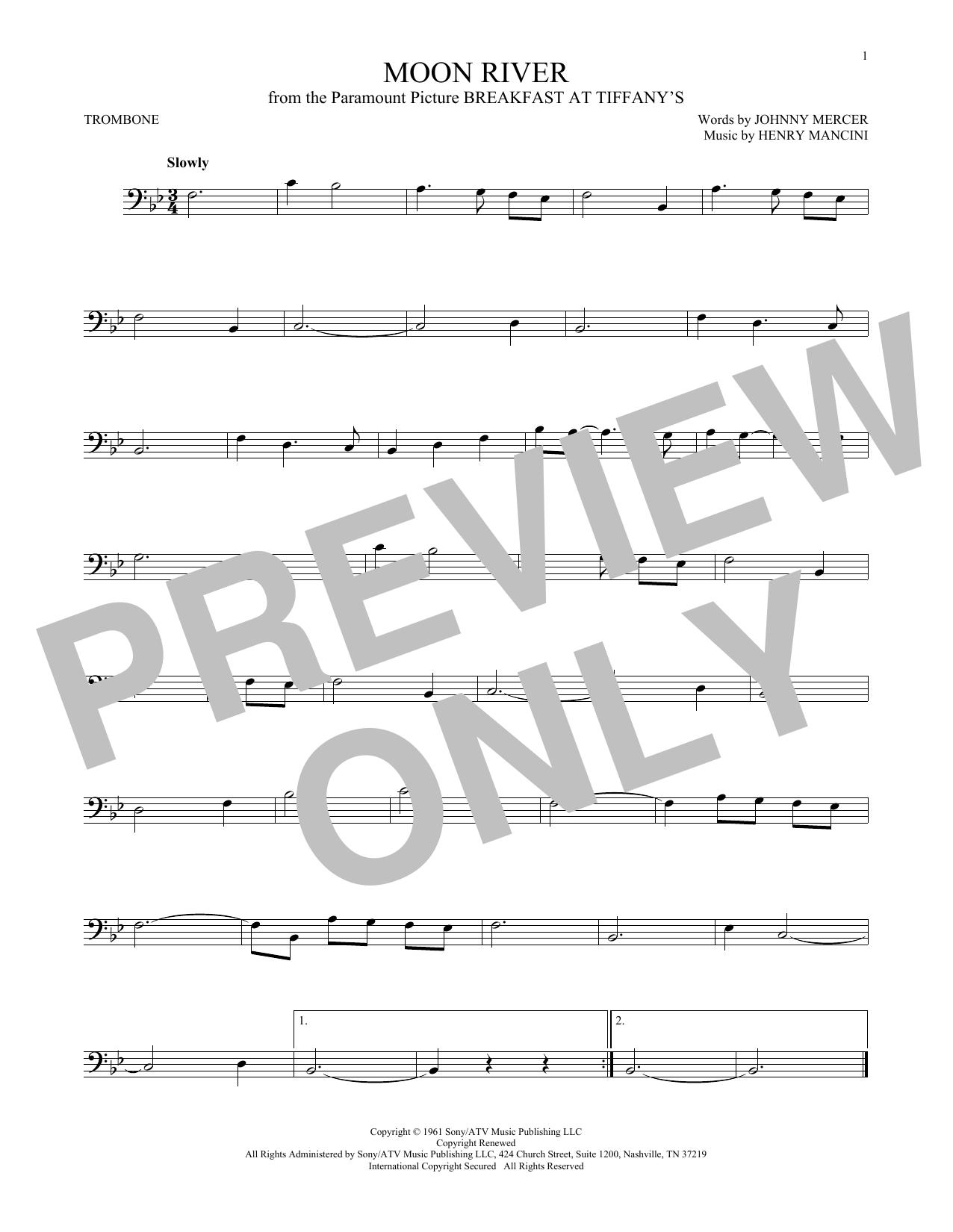 Partition autre Moon River de Henry Mancini - Trombone