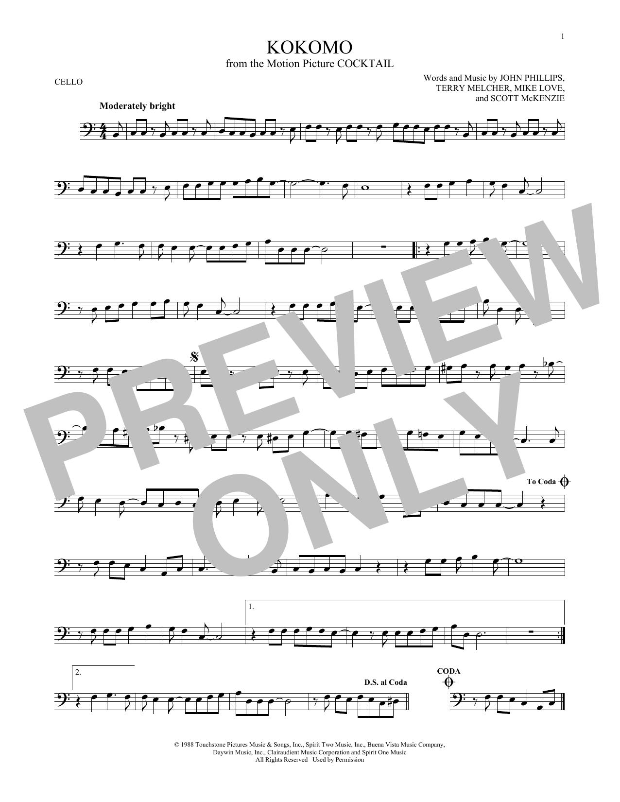Partition autre Kokomo de The Beach Boys - Violoncelle