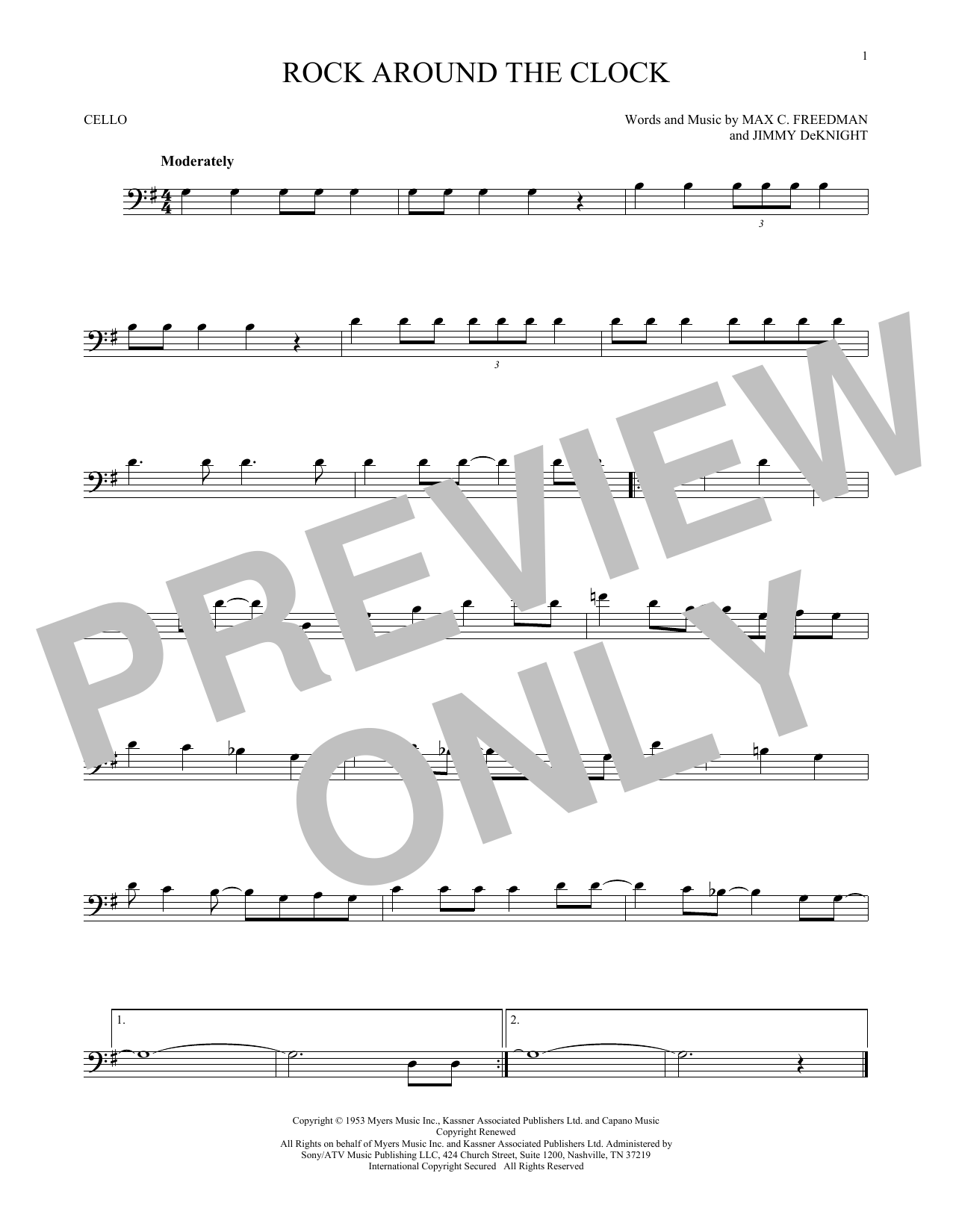 Partition autre Rock Around The Clock de Bill Haley & His Comets - Violoncelle
