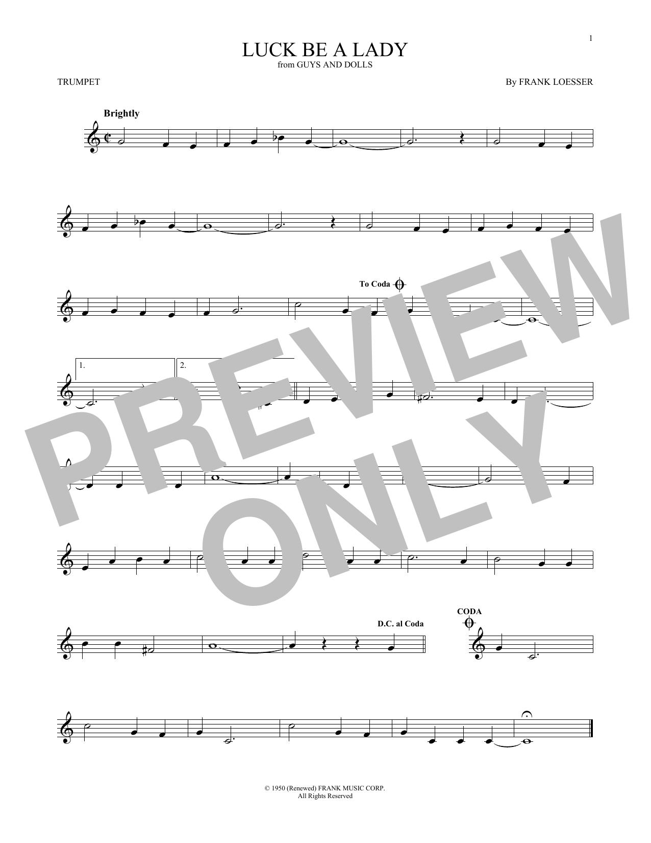Partition autre Luck Be A Lady de Frank Loesser - Trompette