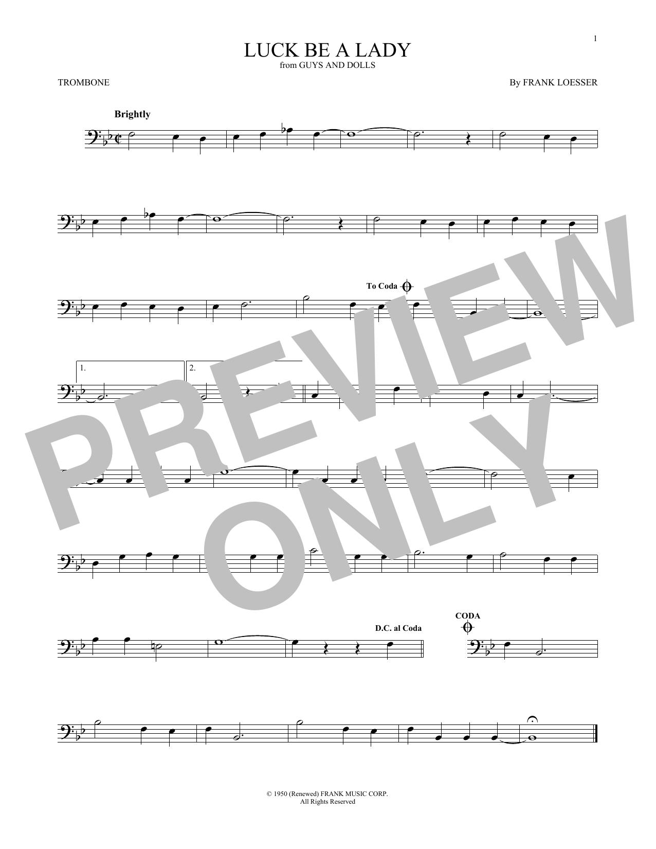 Partition autre Luck Be A Lady de Frank Loesser - Trombone