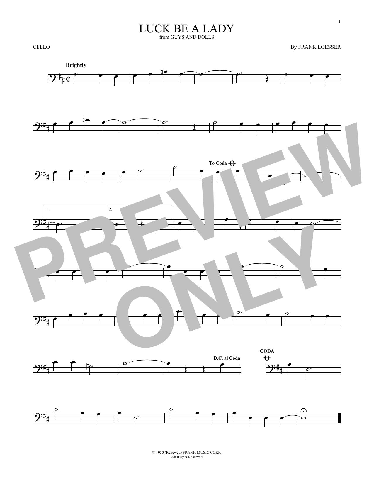 Partition autre Luck Be A Lady de Frank Loesser - Violoncelle
