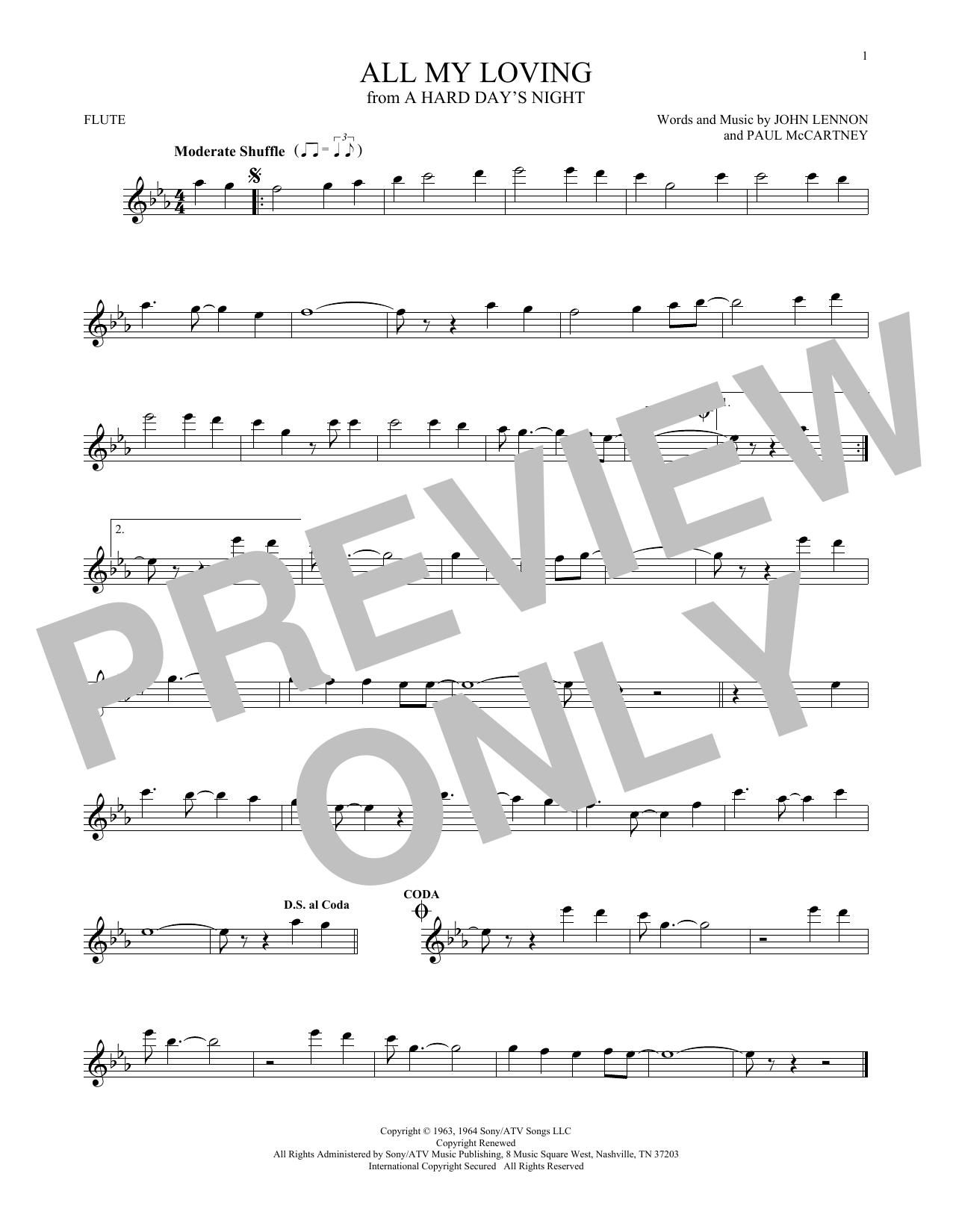 Partition flûte All My Loving de The Beatles - Flute traversiere