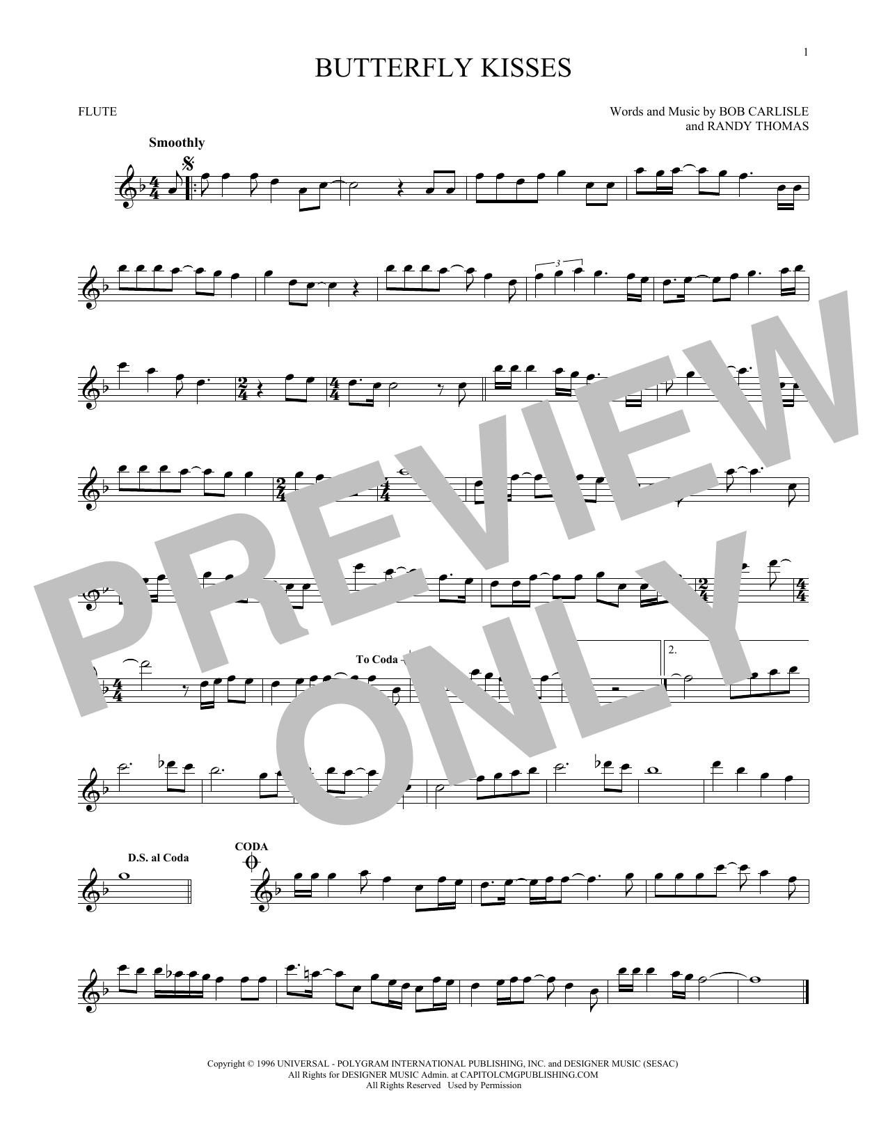 Partition flûte Butterfly Kisses de Bob Carlisle - Flute traversiere
