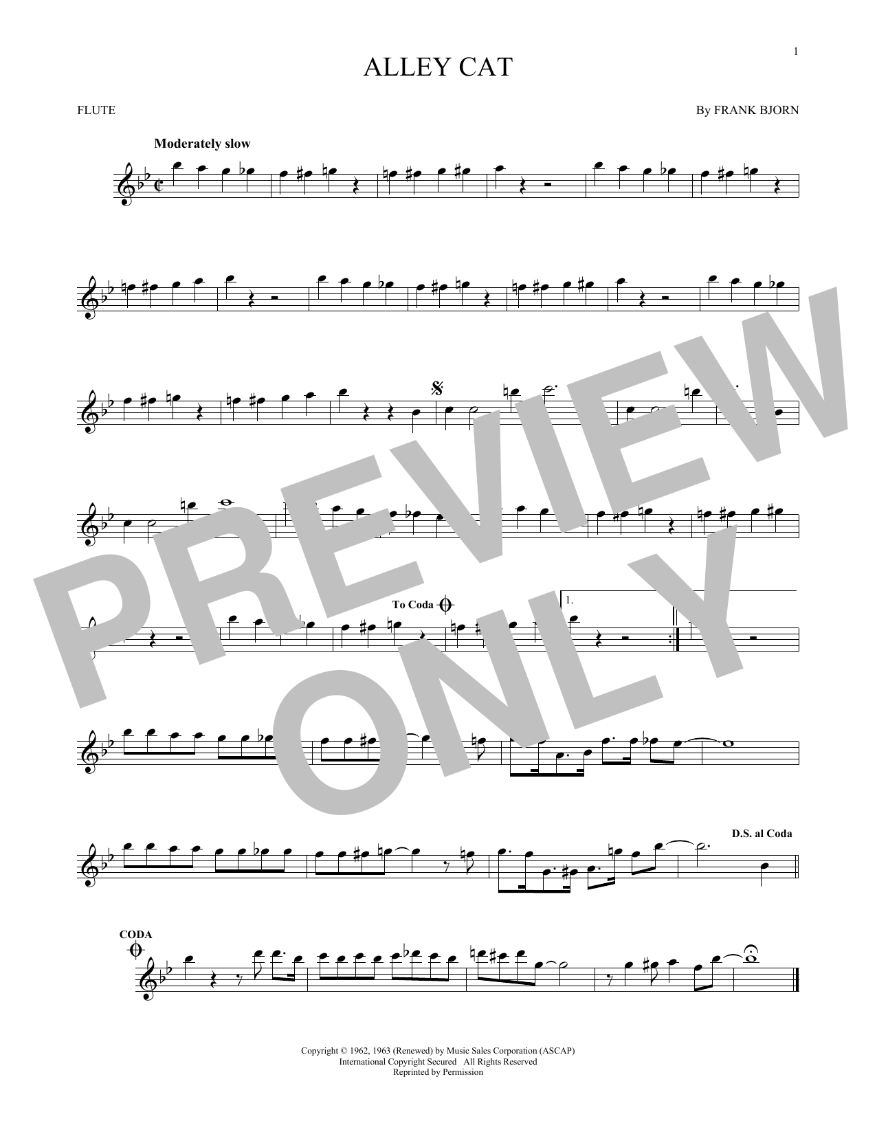 Partition flûte Alley Cat de Bent Fabric - Flute traversiere