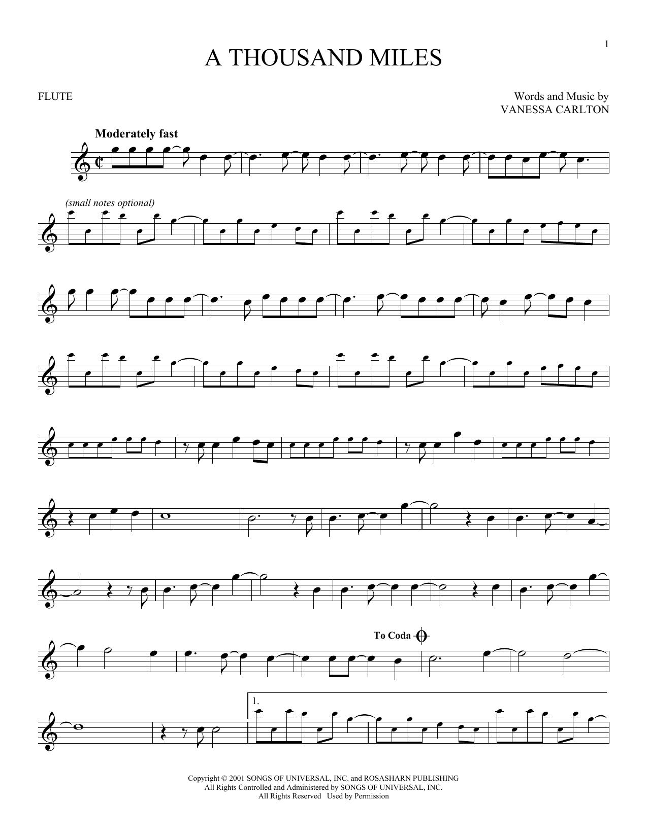 Partition flûte A Thousand Miles de Vanessa Carlton - Flute traversiere