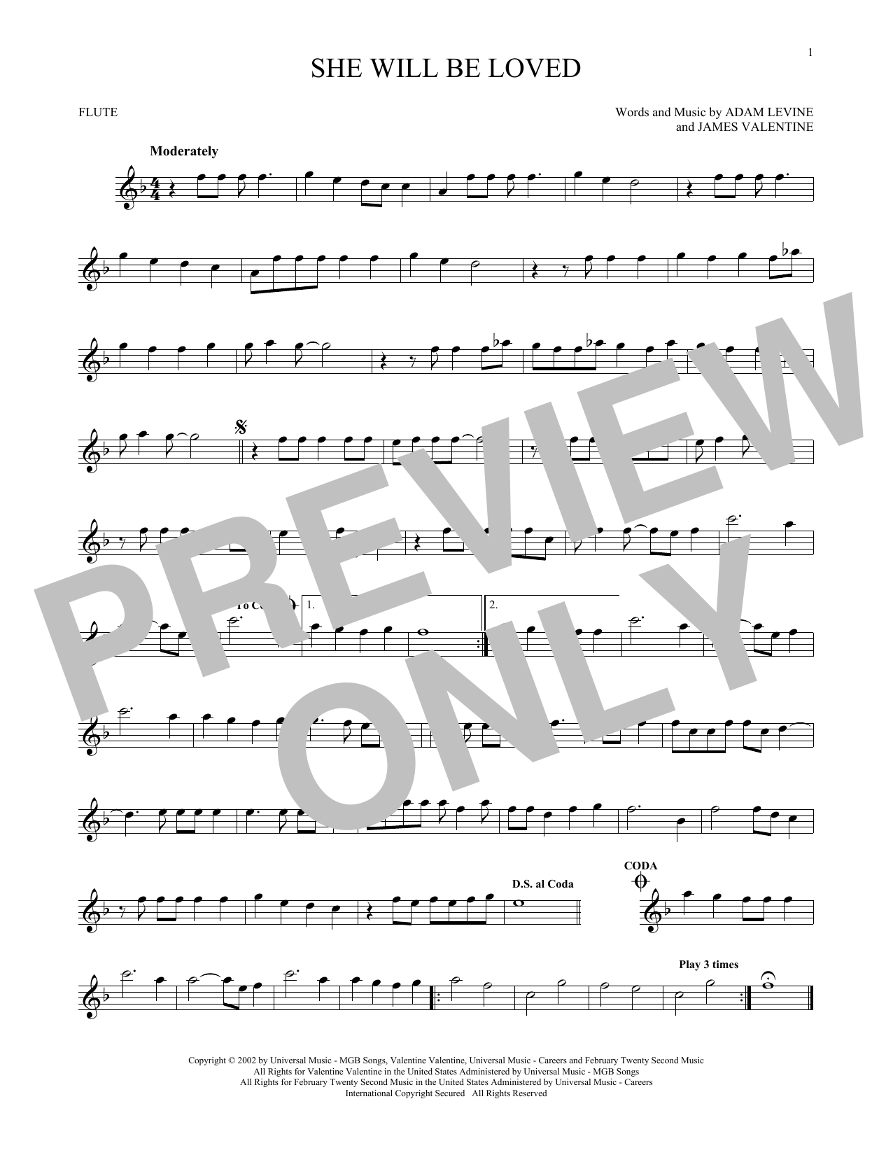 Partition flûte She Will Be Loved de Maroon 5 - Flute traversiere