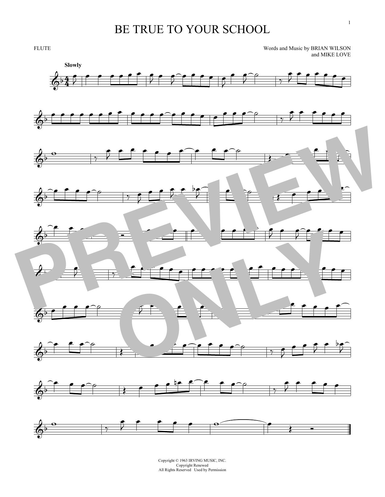 Partition flûte Be True To Your School de The Beach Boys - Flute traversiere