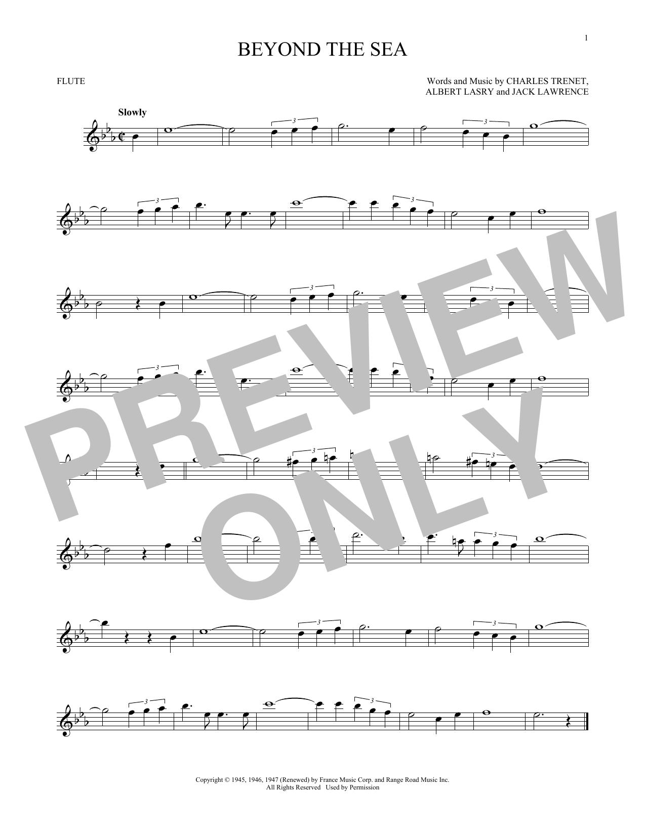 Partition flûte Beyond The Sea de Bobby Darin - Flute traversiere